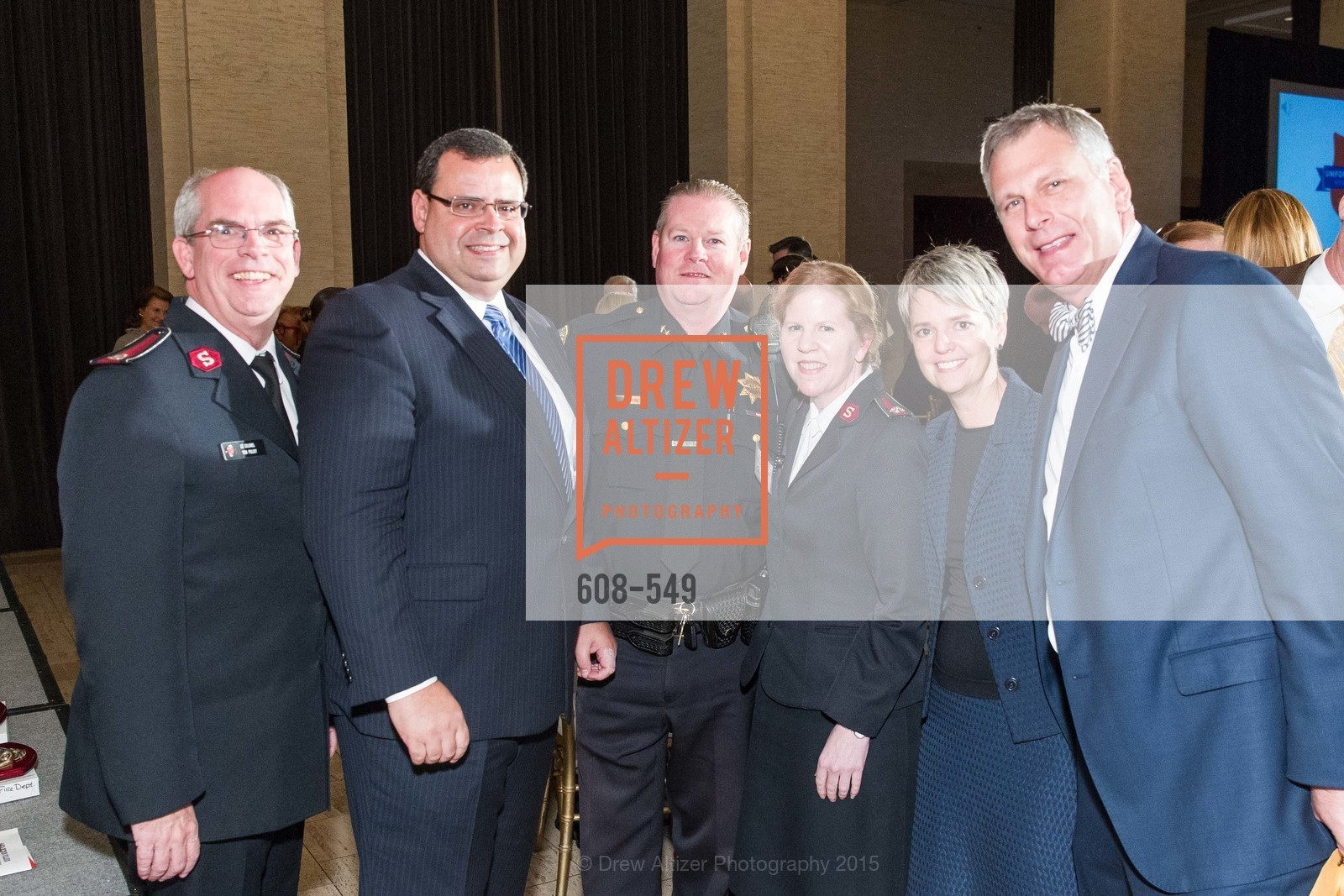 Lt. Col. Tim Foley, Brent Beabout, Mike Redmond, Lt. Col Cindy Foley, Julia Beabout, Ernst Bauer, The Salvation Army's 12th Annual Holiday Luncheon Kettle Kickoff, The Bently Reserve. 301 Battery St, November 18th, 2015,Drew Altizer, Drew Altizer Photography, full-service agency, private events, San Francisco photographer, photographer california