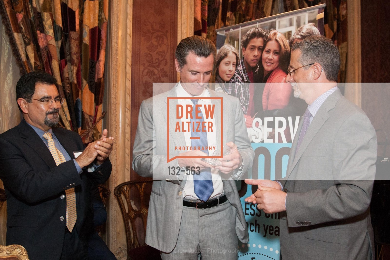 Salvador Menjivar, Honorable Gavin Newsom, Jeff Kositsky, HAMILTON FAMILY CENTER Top Donor Cocktail Reception, US, September 10th, 2014