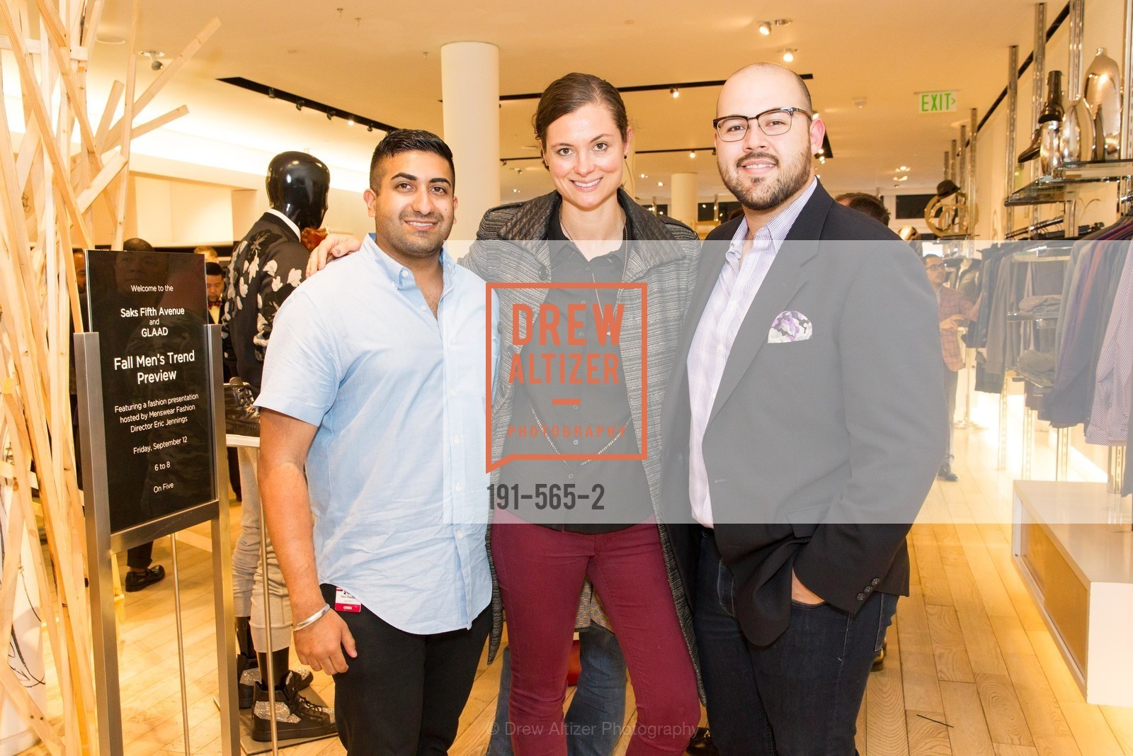 Rahul Chandhok, Lauren Dowling, Amhir Hidalgo, GLAAD GALA Kick-Off Party Hosted by SAKS FIFTH AVENUE, Saks Fifth Avenue. 384 Post Street, September 12th, 2014,Drew Altizer, Drew Altizer Photography, full-service agency, private events, San Francisco photographer, photographer california