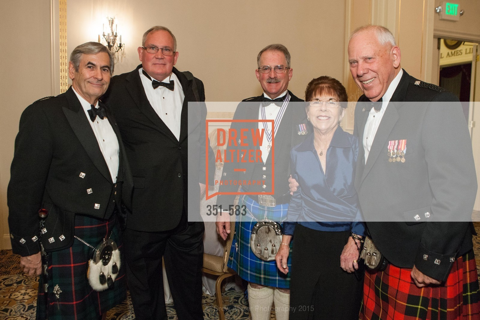 Don McCorkindale, William Childress, Fred Rutledge, Anne Zucchi, Russ Wallace, St. Andrew's Society of San Francisco Annual Banquet and Ball 2015, Marines' Memorial Club & Hotel. 609 Sutter St, November 28th, 2015,Drew Altizer, Drew Altizer Photography, full-service agency, private events, San Francisco photographer, photographer california