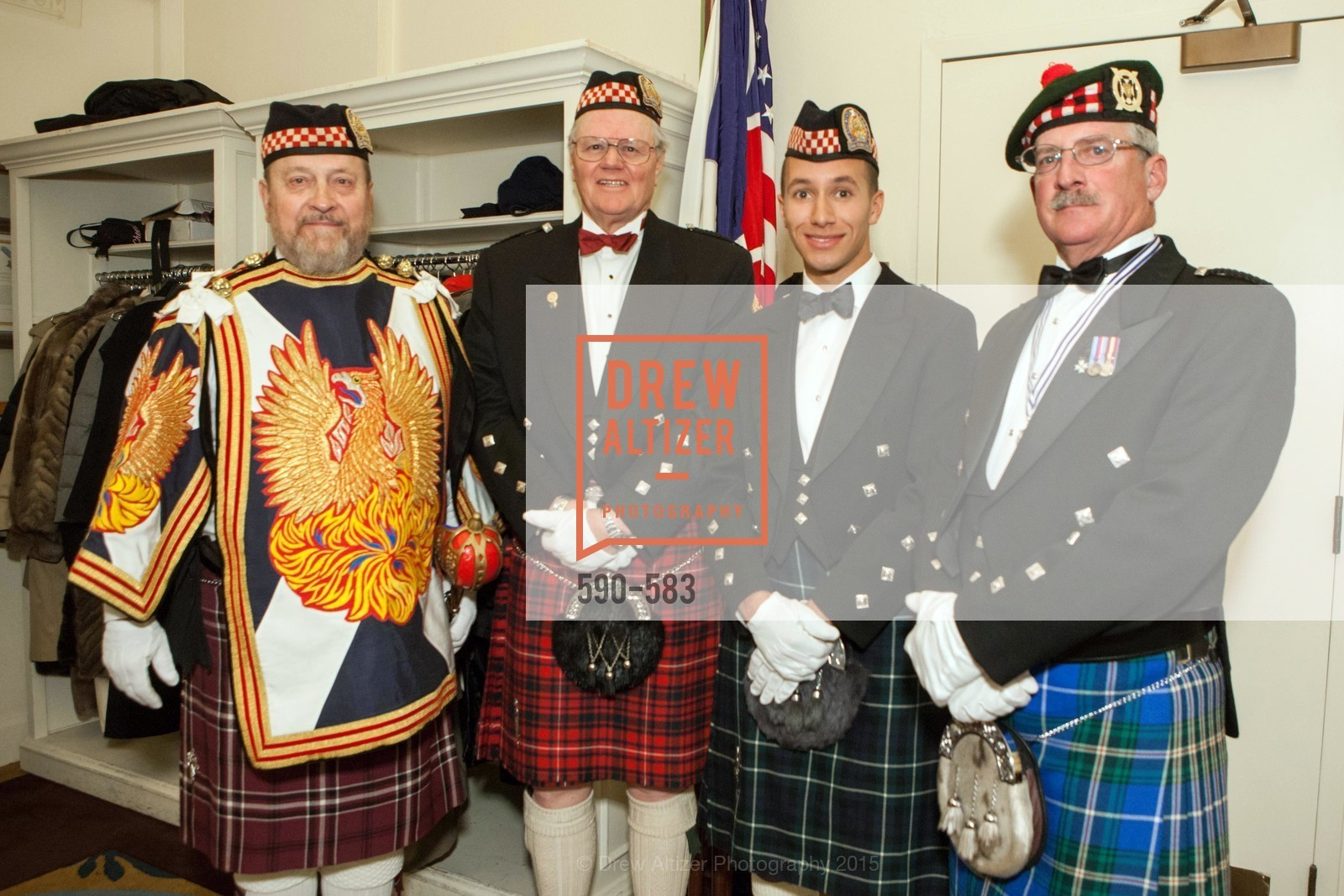 Bill Jaggers, Allen Cary, Sola Paterson-Marke, Fred Rutledge, St. Andrew's Society of San Francisco Annual Banquet and Ball 2015, Marines' Memorial Club & Hotel. 609 Sutter St, November 28th, 2015,Drew Altizer, Drew Altizer Photography, full-service agency, private events, San Francisco photographer, photographer california