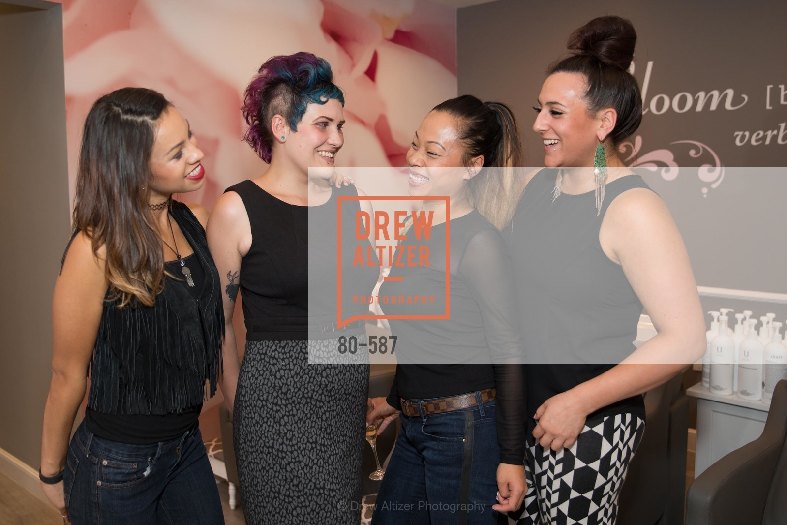 Ruby Gallardo, Cynthia Irvis, Donna Rao, Brittany Paz, BLOOM BLOW DRY BAR Grand Opening Party, US, October 2nd, 2014,Drew Altizer, Drew Altizer Photography, full-service event agency, private events, San Francisco photographer, photographer California