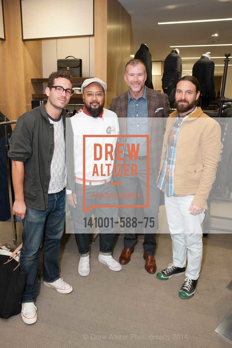 Ben Starmer, Brian Owiton, Kevin Harter, Sean Awitan, ESQUIRE & BLOOMINGDALE'S SF Celebrate the Launch of FREEMANS SPORTING GOODS, US, October 2nd, 2014,Drew Altizer, Drew Altizer Photography, full-service event agency, private events, San Francisco photographer, photographer California
