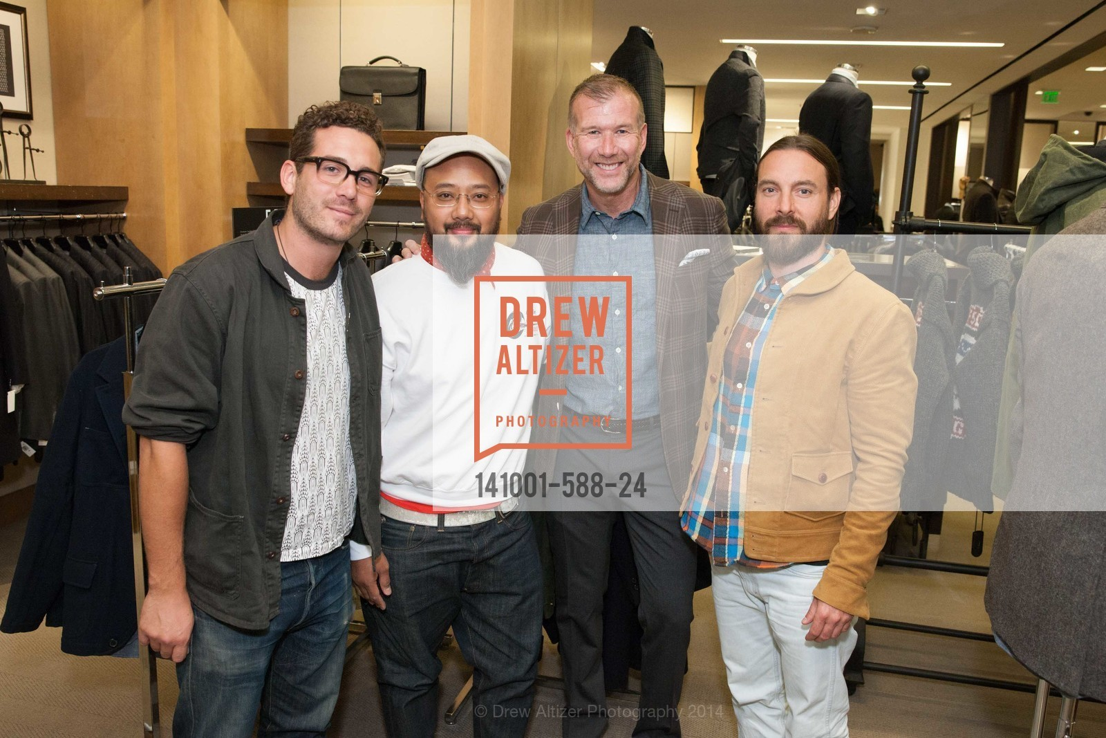 Ben Starmer, Brian Owiton, Kevin Harter, Sean Awitan, ESQUIRE & BLOOMINGDALE'S SF Celebrate the Launch of FREEMANS SPORTING GOODS, US, October 2nd, 2014,Drew Altizer, Drew Altizer Photography, full-service agency, private events, San Francisco photographer, photographer california