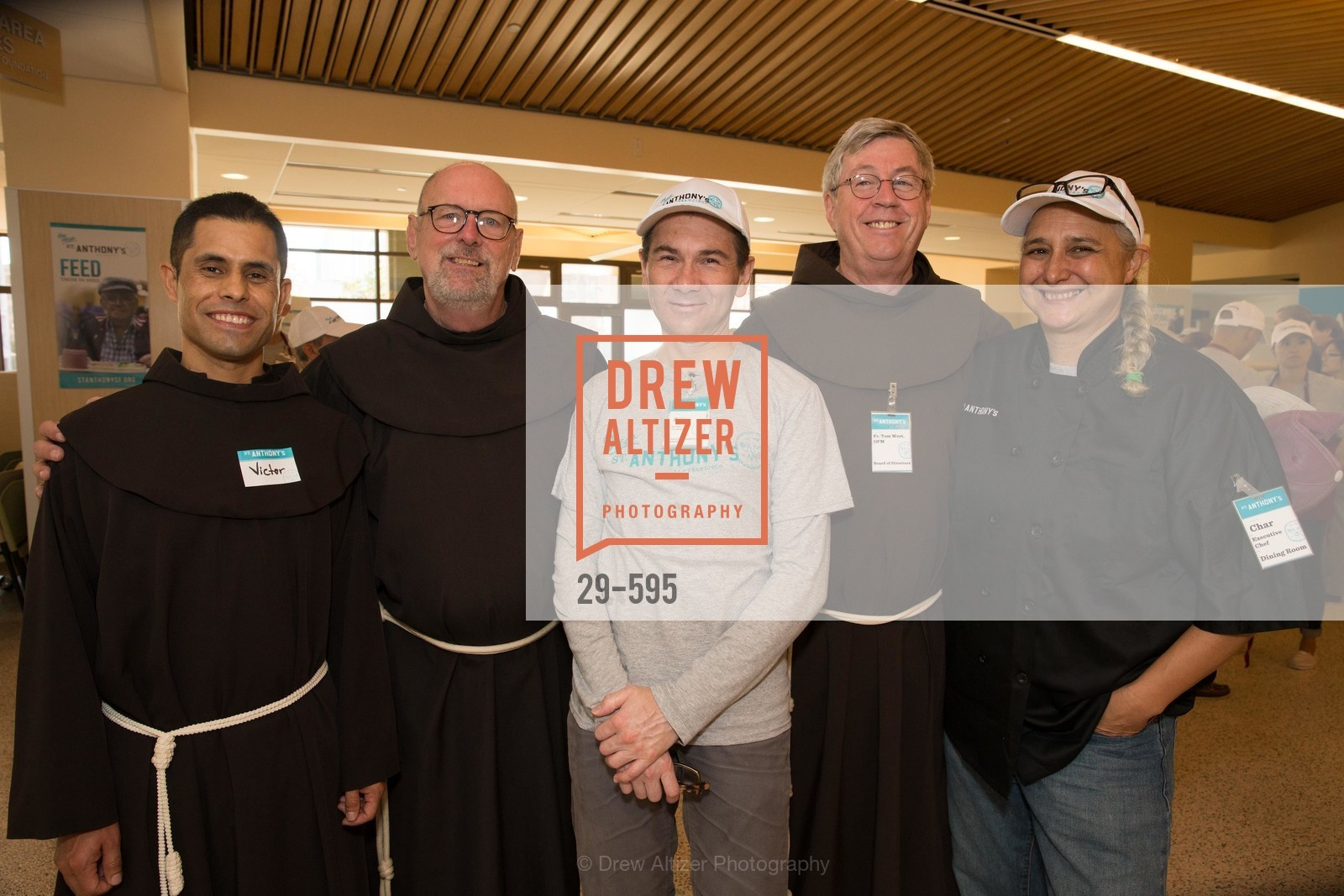 Father Victor Vega, Father John Hardin, Brian Campbell, Father Tom West, Char Marsden, ST. ANTHONY'S Dining Room Ribbon Cutting Ceremony, US, October 5th, 2014,Drew Altizer, Drew Altizer Photography, full-service agency, private events, San Francisco photographer, photographer california