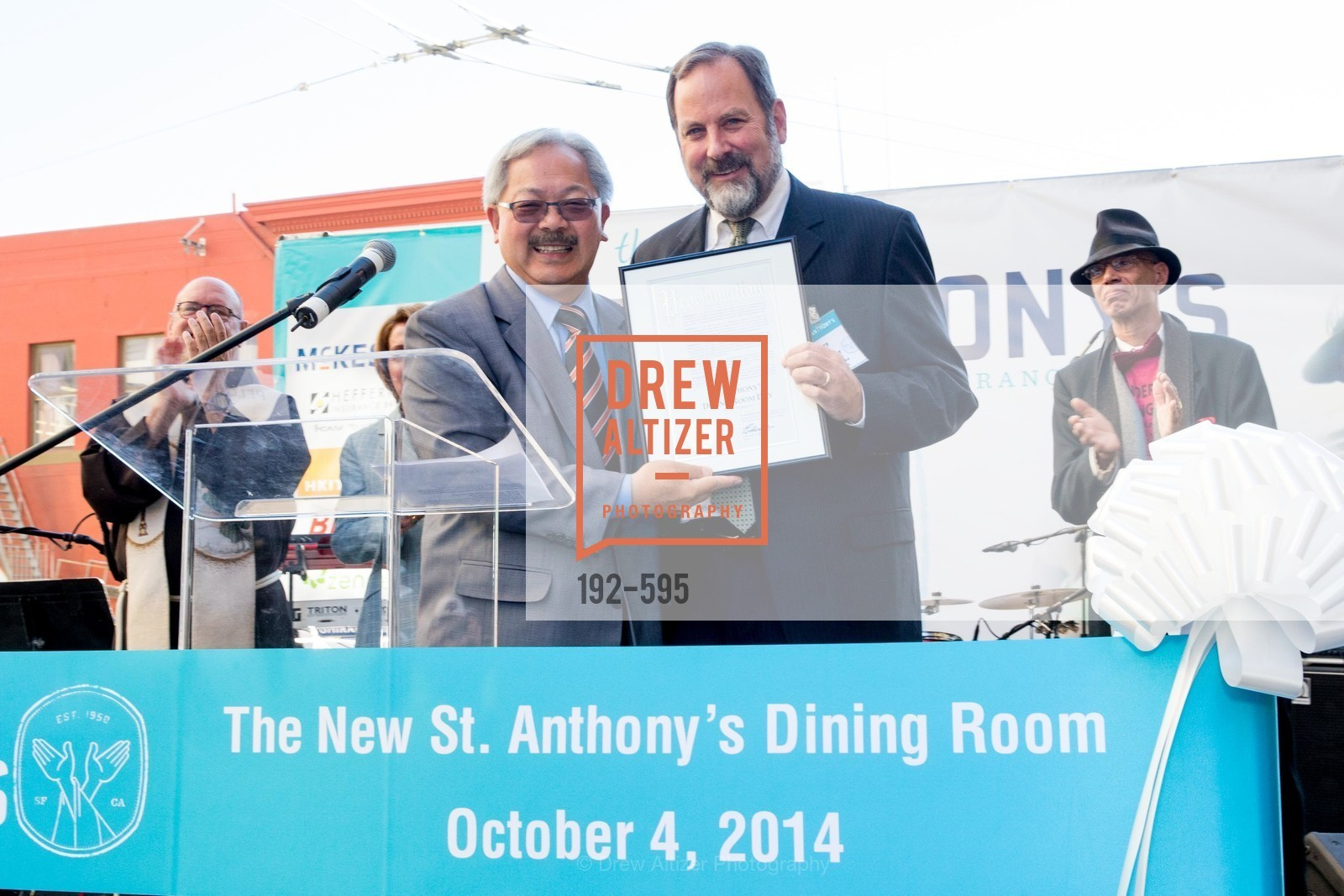Ed Lee, Barry Stenger, ST. ANTHONY'S Dining Room Ribbon Cutting Ceremony, US, October 5th, 2014,Drew Altizer, Drew Altizer Photography, full-service event agency, private events, San Francisco photographer, photographer California