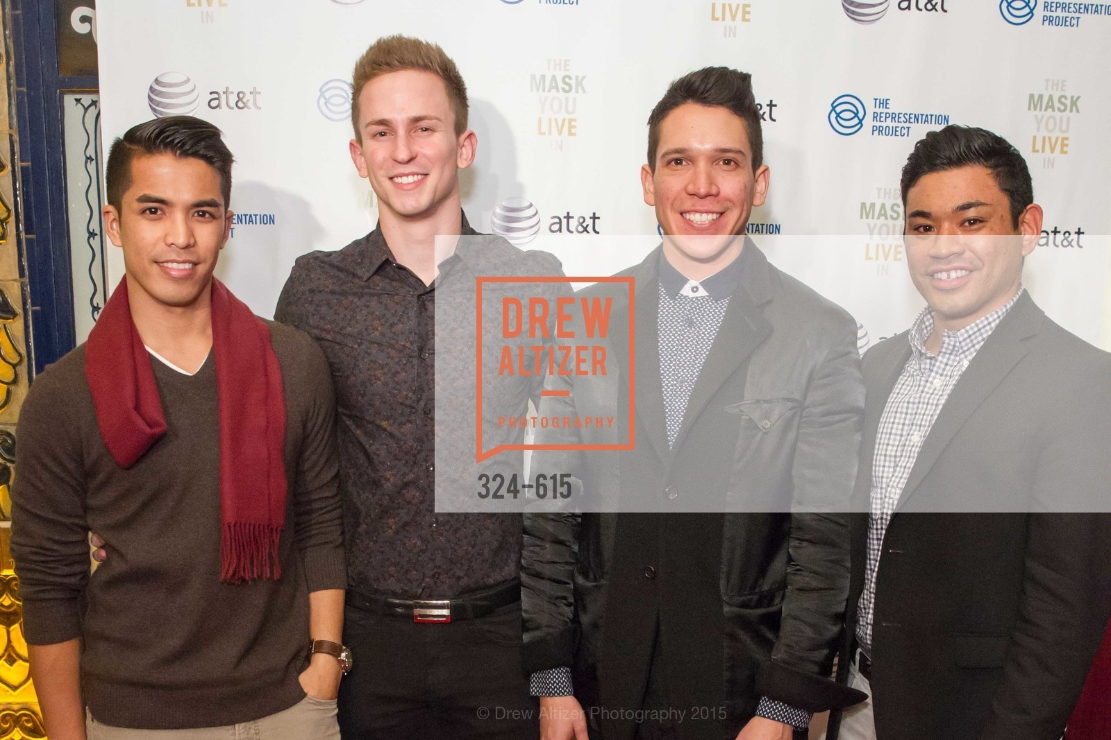 Kyle Cabral, Sean Drimmel, Nicholas Gonzalez, James Keleti, Jennifer Siebel Newsom's Castro Screening The Mask You Live In, Castro Theatre. 429 Castro Street, December 2nd, 2015,Drew Altizer, Drew Altizer Photography, full-service agency, private events, San Francisco photographer, photographer california