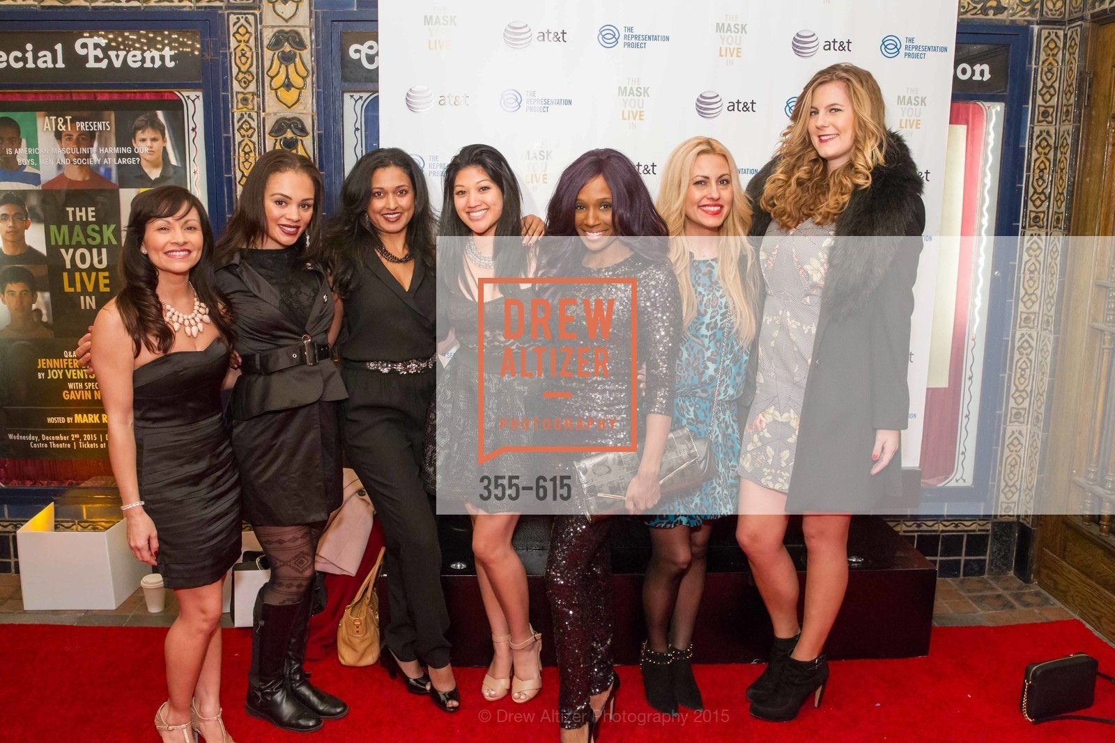 Stacy Lin, Jessica Robinson, Shilpa Vichare, Pernela Sommerville, Jen Hernandez, Jennifer Siebel Newsom's Castro Screening The Mask You Live In, Castro Theatre. 429 Castro Street, December 2nd, 2015,Drew Altizer, Drew Altizer Photography, full-service agency, private events, San Francisco photographer, photographer california