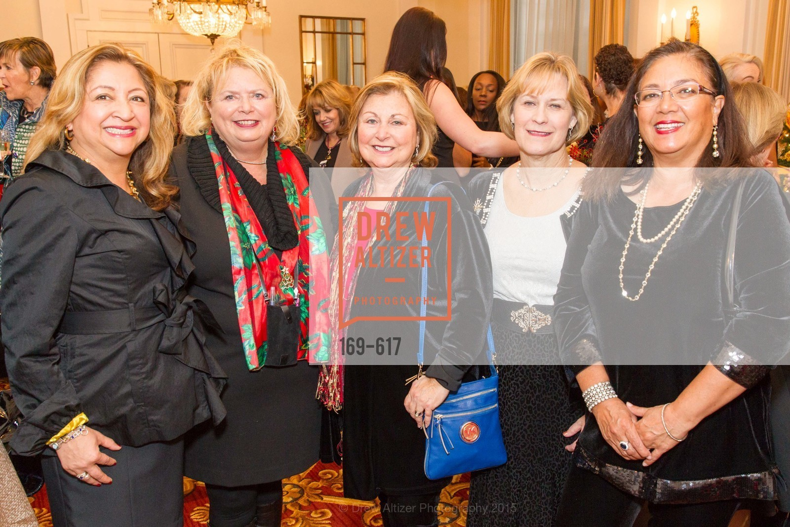 Angela Lewis, Sally Enea, Geri Goodell, Lee Ann Erickson, Chrissy Robbins, Boy's & Girls' Towns of Italy Holiday Luncheon, The Olympic Club. 524 Post Street, December 3rd, 2015,Drew Altizer, Drew Altizer Photography, full-service agency, private events, San Francisco photographer, photographer california