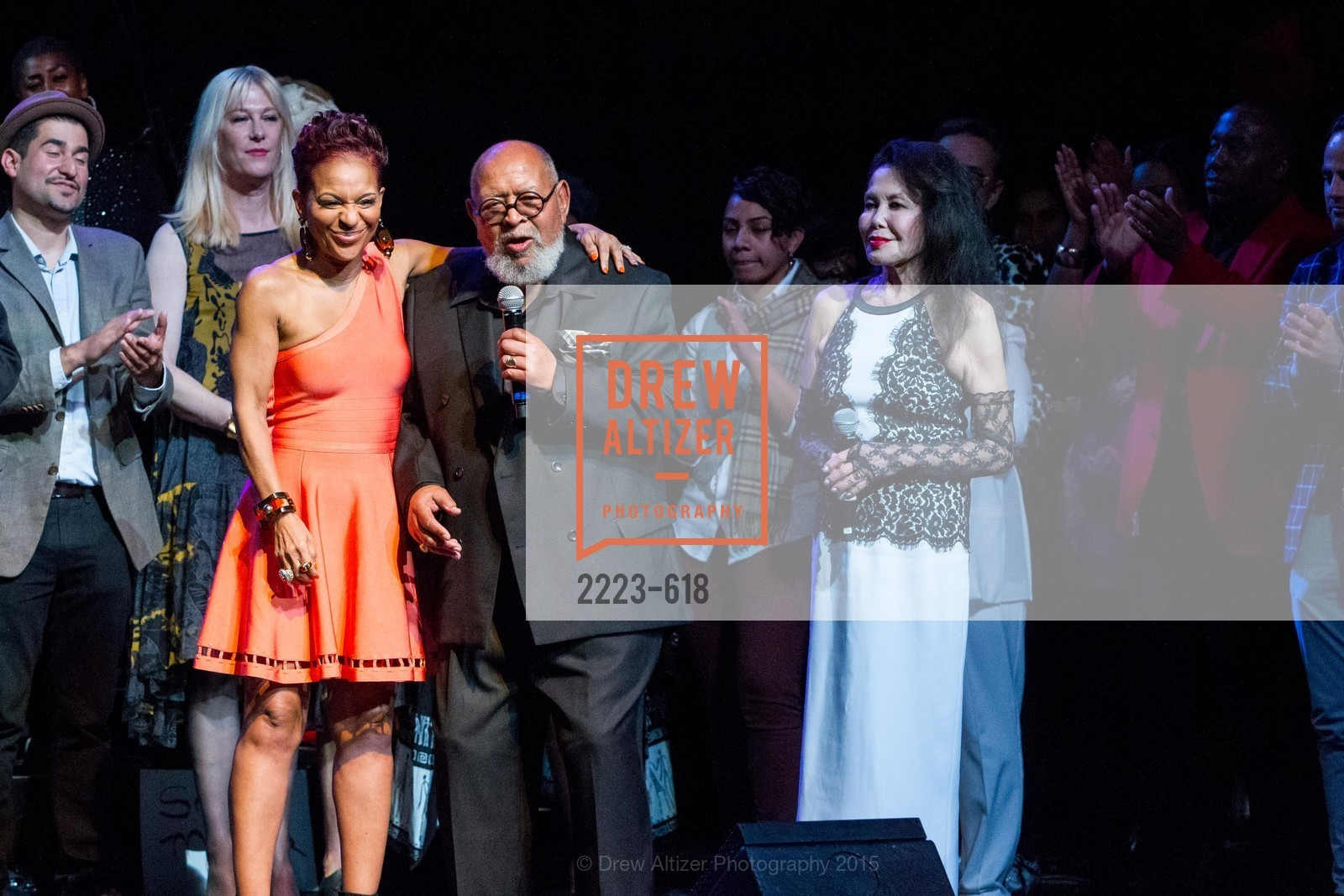 Renel Brooks-Moon, Cecil Williams, Janice Mirikitani, GLIDE's Annual Holiday Jam: Love Matters, The Warfield Theatre. 982 Market, December 3rd, 2015,Drew Altizer, Drew Altizer Photography, full-service agency, private events, San Francisco photographer, photographer california