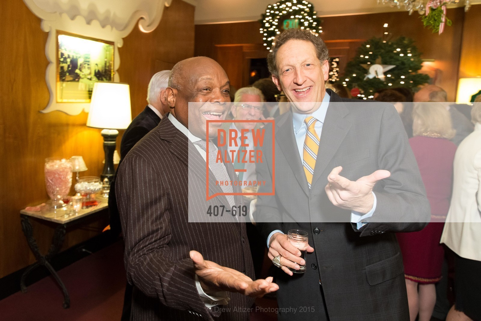 Willie Brown, Larry Baer, Shansby/Matarasso Holiday Lunch, Bimbo's 365 Club. 1025 Columbus Ave, December 4th, 2015,Drew Altizer, Drew Altizer Photography, full-service agency, private events, San Francisco photographer, photographer california