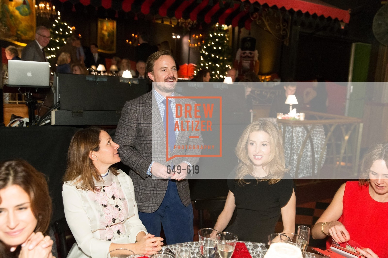 Christopher Bass, Katie Harbin Clammer, Shansby/Matarasso Holiday Lunch, Bimbo's 365 Club. 1025 Columbus Ave, December 4th, 2015,Drew Altizer, Drew Altizer Photography, full-service agency, private events, San Francisco photographer, photographer california