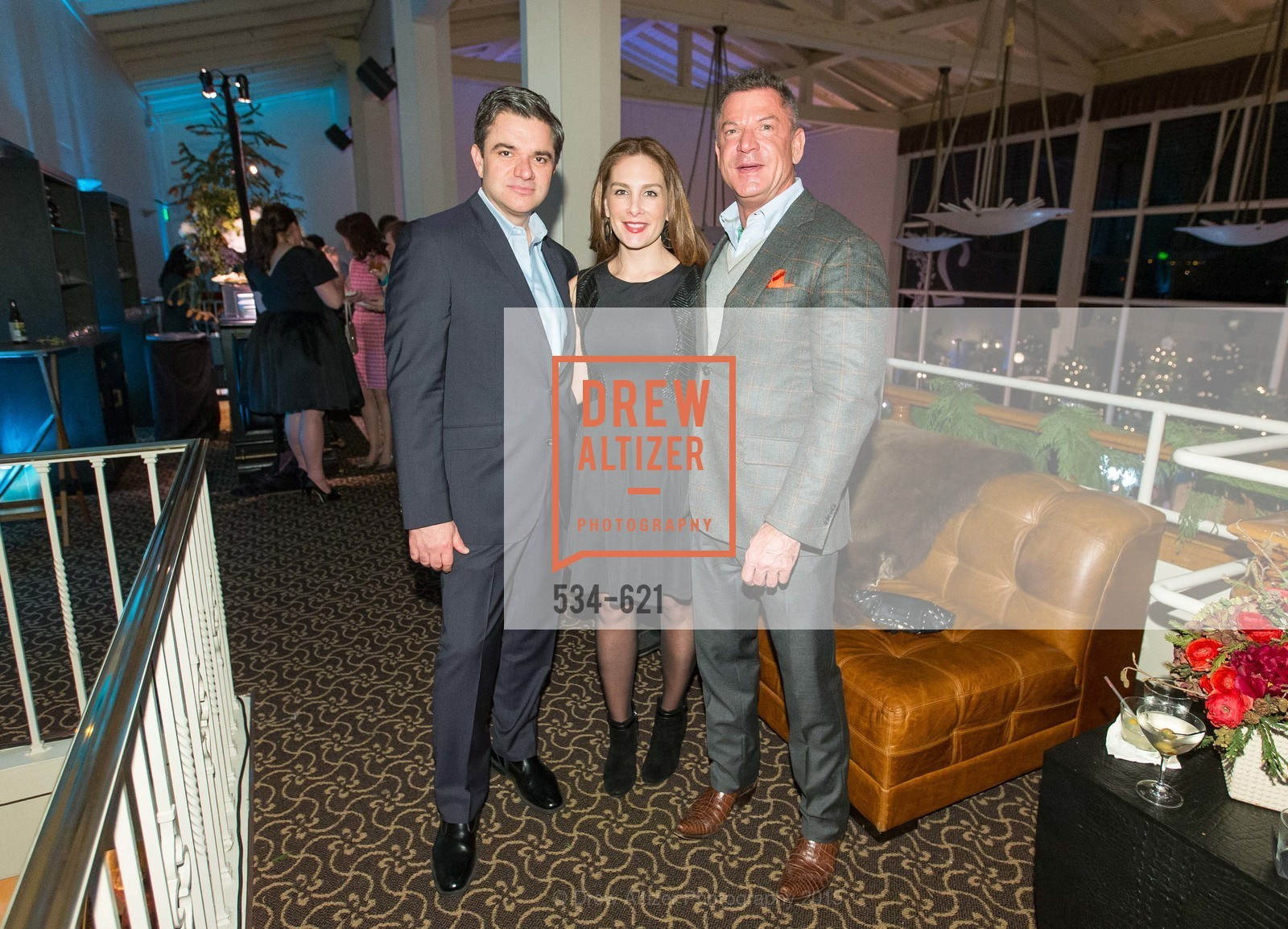 John Costouros, Stefanie Roumeliotes, David Kensington, Children of Shelters' Jingle and Mingle, Golden Gate Club. 135 Fisher Loop, December 3rd, 2015,Drew Altizer, Drew Altizer Photography, full-service agency, private events, San Francisco photographer, photographer california