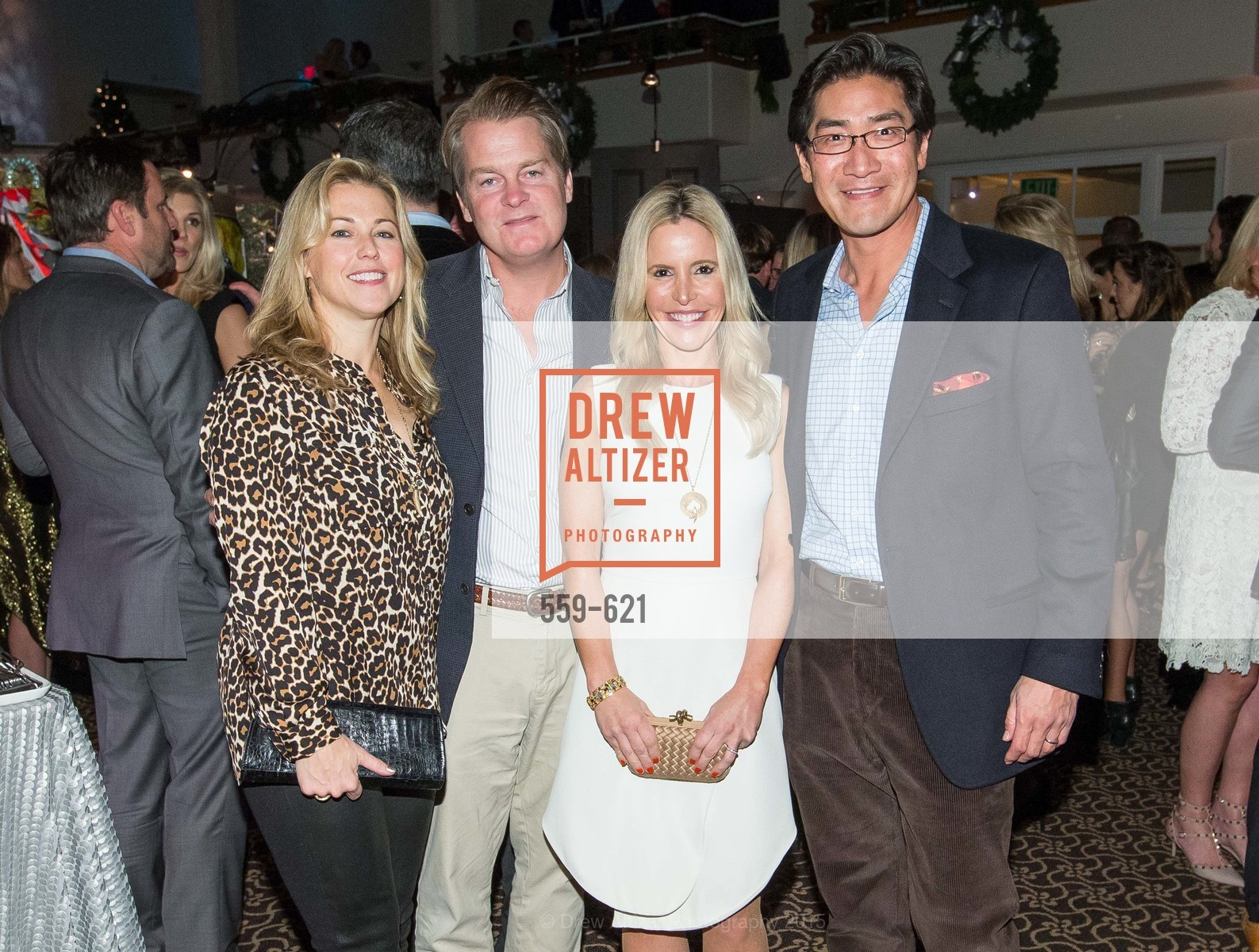 Christina Dunning, Jad Dunning, Lana Adair, David Chung, Children of Shelters' Jingle and Mingle, Golden Gate Club. 135 Fisher Loop, December 3rd, 2015,Drew Altizer, Drew Altizer Photography, full-service agency, private events, San Francisco photographer, photographer california