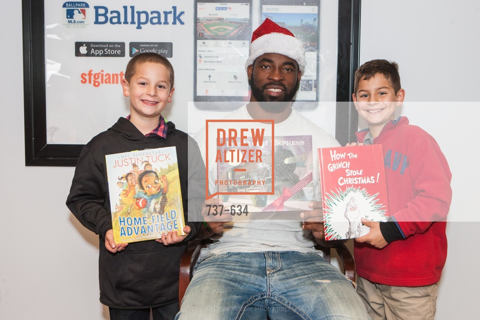 Lucas Santa Maria, Justin Tuck, Elias Santa Maria, Holiday Heroes 2015, AT&T Park, December 7th, 2015,Drew Altizer, Drew Altizer Photography, full-service agency, private events, San Francisco photographer, photographer california
