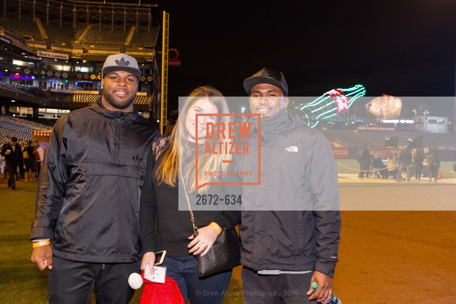 Carlos Hyde, Rebecca Otto, Greg Pratt, Holiday Heroes 2015, AT&T Park, December 7th, 2015,Drew Altizer, Drew Altizer Photography, full-service agency, private events, San Francisco photographer, photographer california