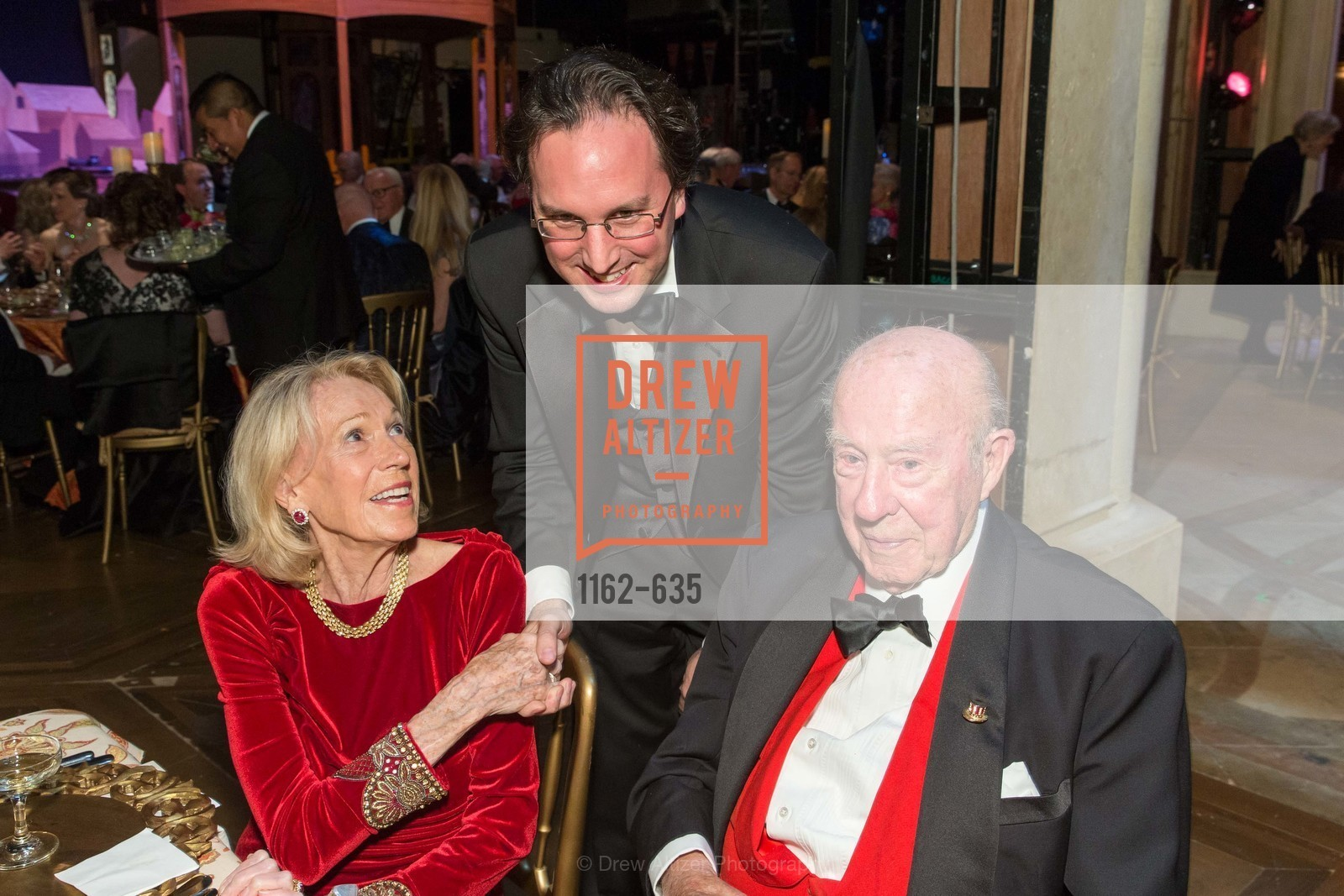 Charlotte Shultz, Matthew Shilvoc, George Shultz, An Evening on the Stage Honoring Renaissance Man Gordon Getty, War Memorial Opera House. 301 Van Ness Ave, December 7th, 2015,Drew Altizer, Drew Altizer Photography, full-service agency, private events, San Francisco photographer, photographer california
