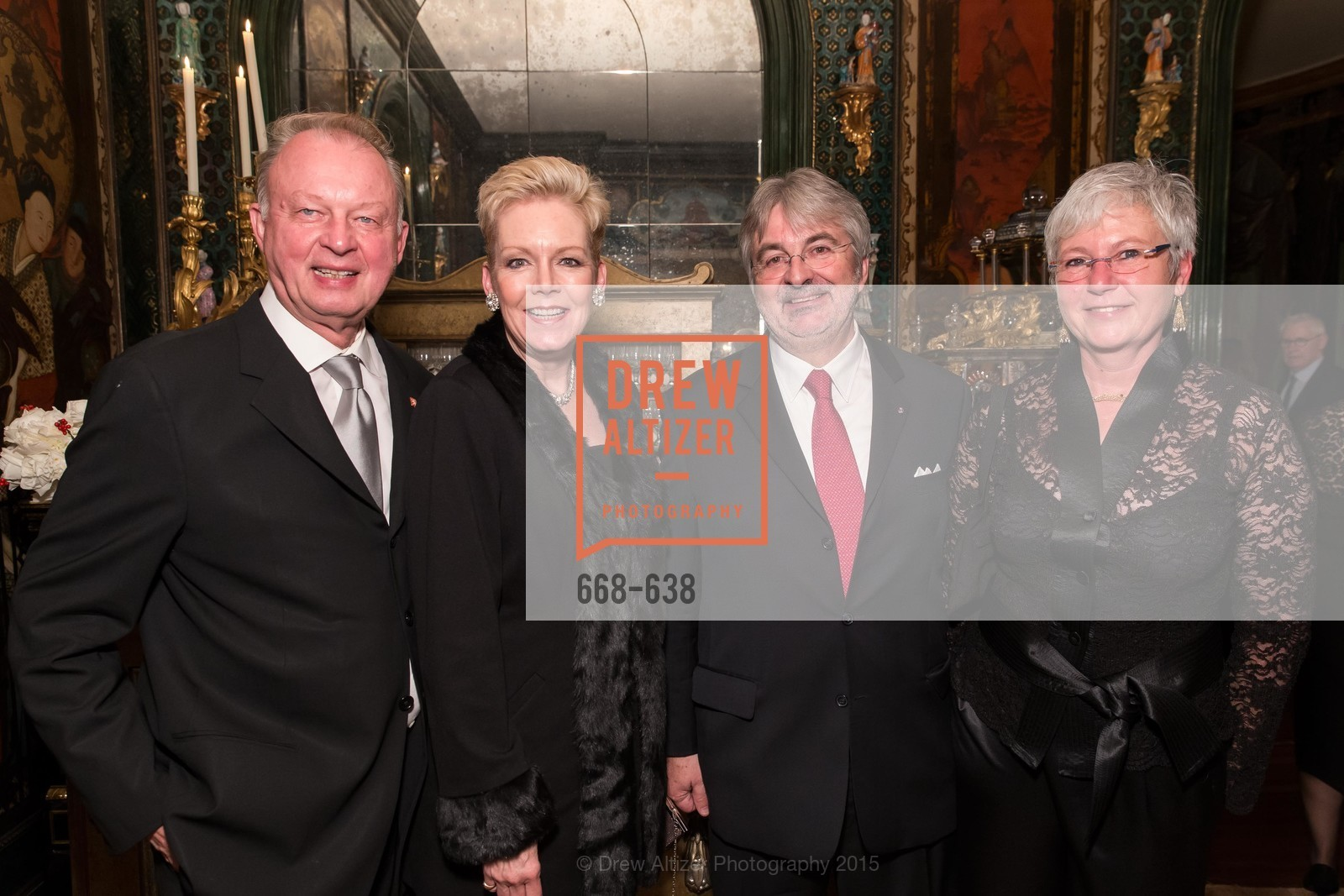 Richard Pivnicka, Barbara Pivnicka, George Schmit, Huguette Wildschutz, San Francisco Mayor's Office of Protocol Christmas Party, Private Residence, December 9th, 2015,Drew Altizer, Drew Altizer Photography, full-service agency, private events, San Francisco photographer, photographer california