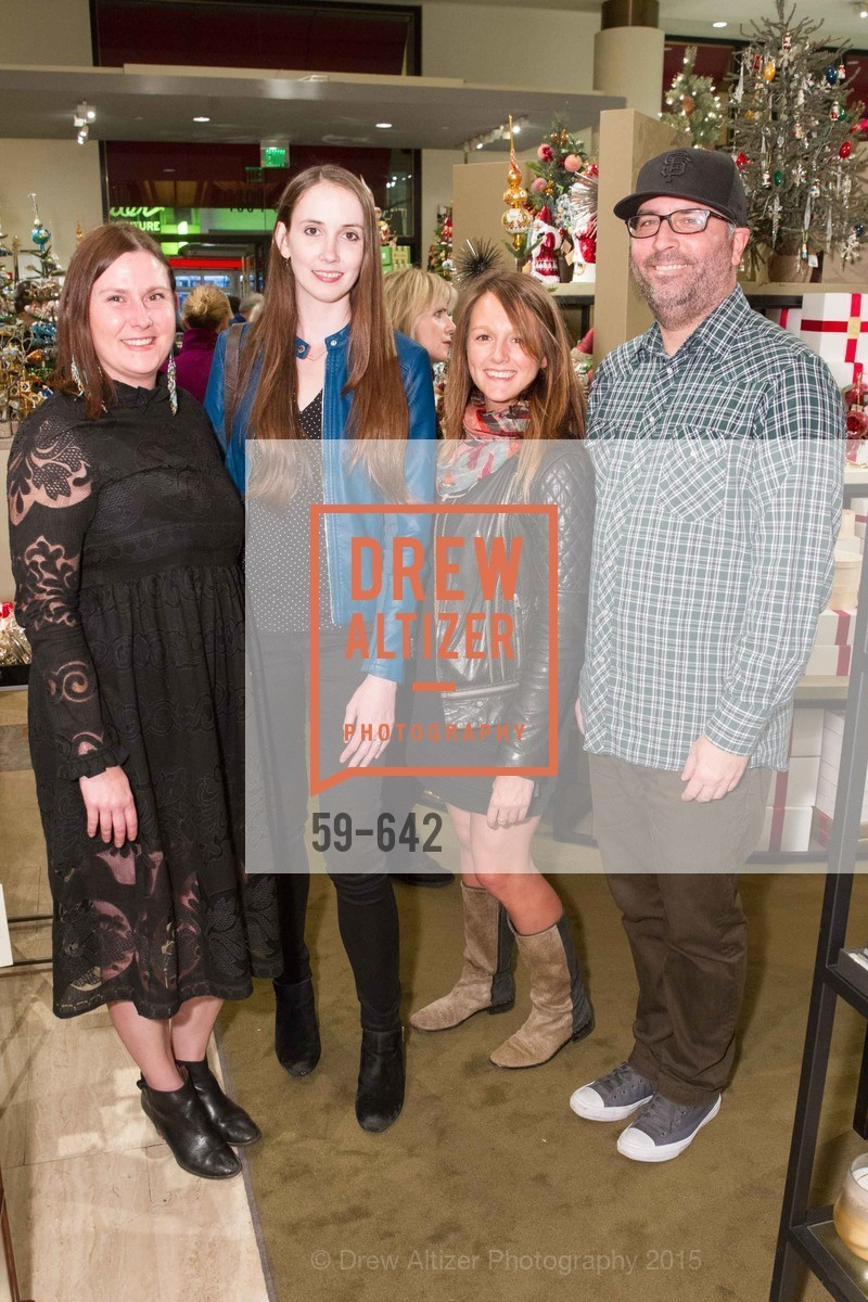 Courtney Cummins, Leonora Rollston, Kaitlin Lavalle, Jason Black, Private Holiday Shopping Night presented by Gump's and Domino magazine, Gump's. 135 Post Street, December 10th, 2015,Drew Altizer, Drew Altizer Photography, full-service agency, private events, San Francisco photographer, photographer california