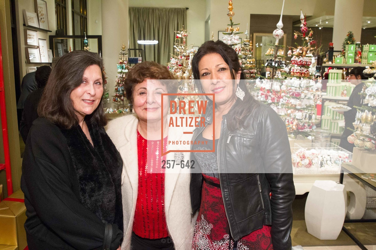 Marlene Anthony, Fran Ostovari, Armita Ostovari, Private Holiday Shopping Night presented by Gump's and Domino magazine, Gump's. 135 Post Street, December 10th, 2015,Drew Altizer, Drew Altizer Photography, full-service agency, private events, San Francisco photographer, photographer california
