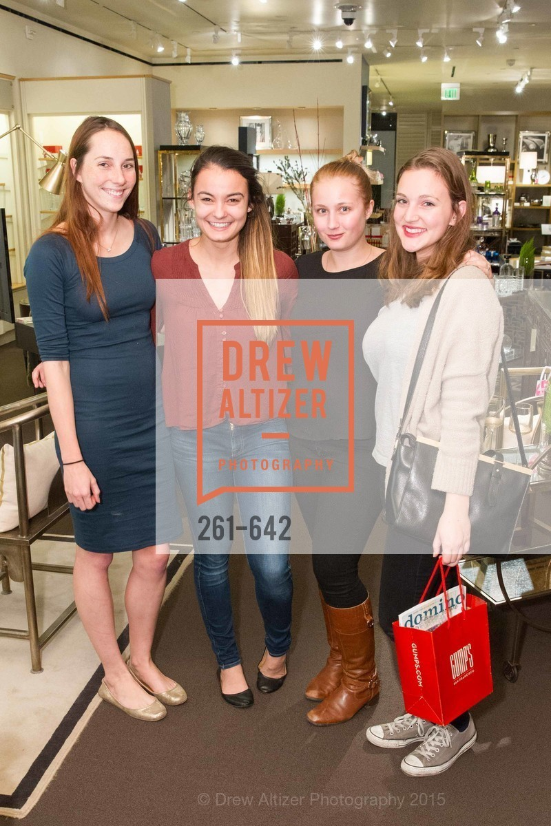 Lauran Keown-Beyer, Nicole Murphy, Sarah Hagburg, Augusta Braughton, Private Holiday Shopping Night presented by Gump's and Domino magazine, Gump's. 135 Post Street, December 10th, 2015,Drew Altizer, Drew Altizer Photography, full-service agency, private events, San Francisco photographer, photographer california