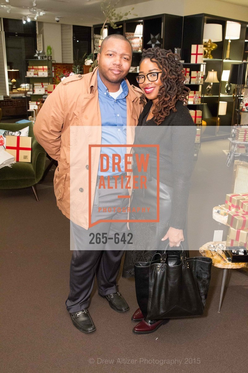 Tyrone Harrison, Adama Harrison, Private Holiday Shopping Night presented by Gump's and Domino magazine, Gump's. 135 Post Street, December 10th, 2015,Drew Altizer, Drew Altizer Photography, full-service agency, private events, San Francisco photographer, photographer california