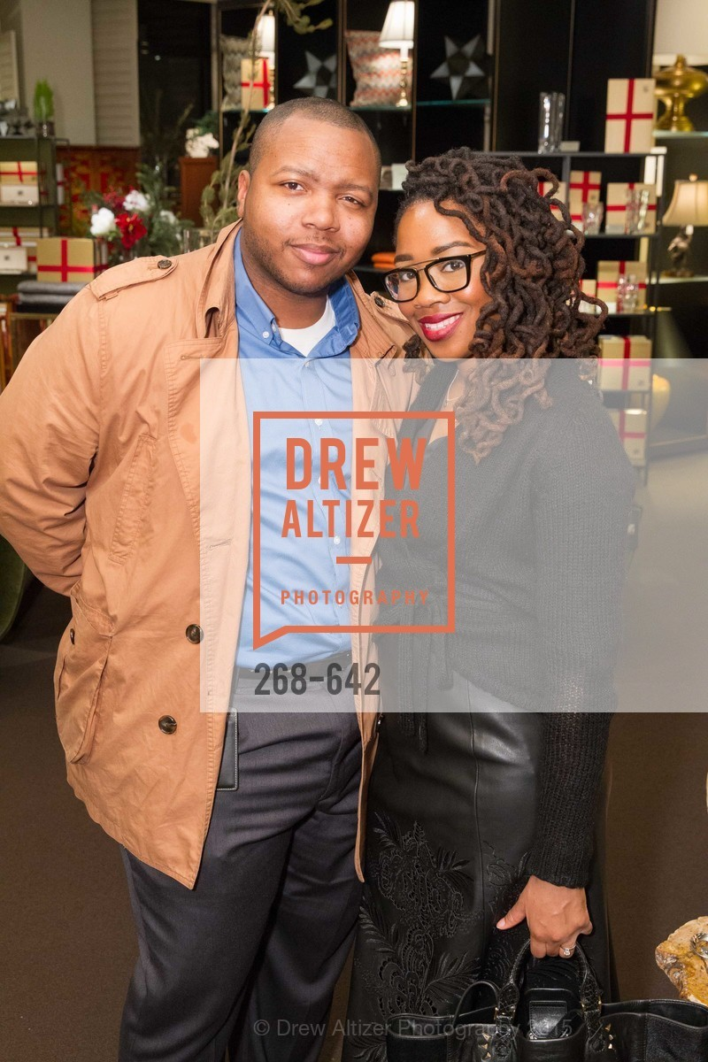 Tyrone Harrison, Adama Harrison, Private Holiday Shopping Night presented by Gump's and Domino magazine, Gump's. 135 Post Street, December 10th, 2015,Drew Altizer, Drew Altizer Photography, full-service event agency, private events, San Francisco photographer, photographer California