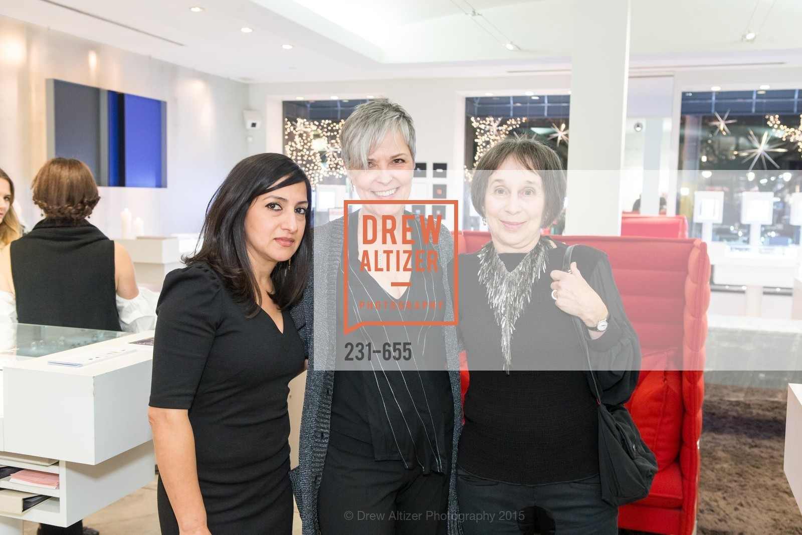 Aida Sarabia, Andre Audethe, Jeannie Sack, Silver Belles Soirée at Stuart Moore, Stuart Moore Gallery of Designer Jewelry. 1898 Union Street, December 17th, 2015,Drew Altizer, Drew Altizer Photography, full-service agency, private events, San Francisco photographer, photographer california