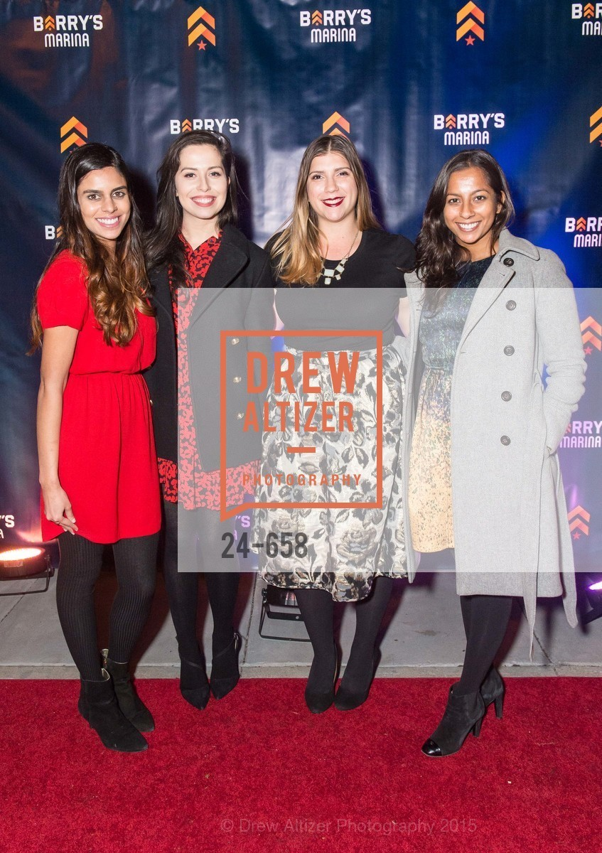 Salima Mavani, Ellen Scales, Maya Geleroff, Soumya Srinegesh, Barry's Marina Opening, Barry's. 2246 Lombard Street, December 17th, 2015,Drew Altizer, Drew Altizer Photography, full-service agency, private events, San Francisco photographer, photographer california