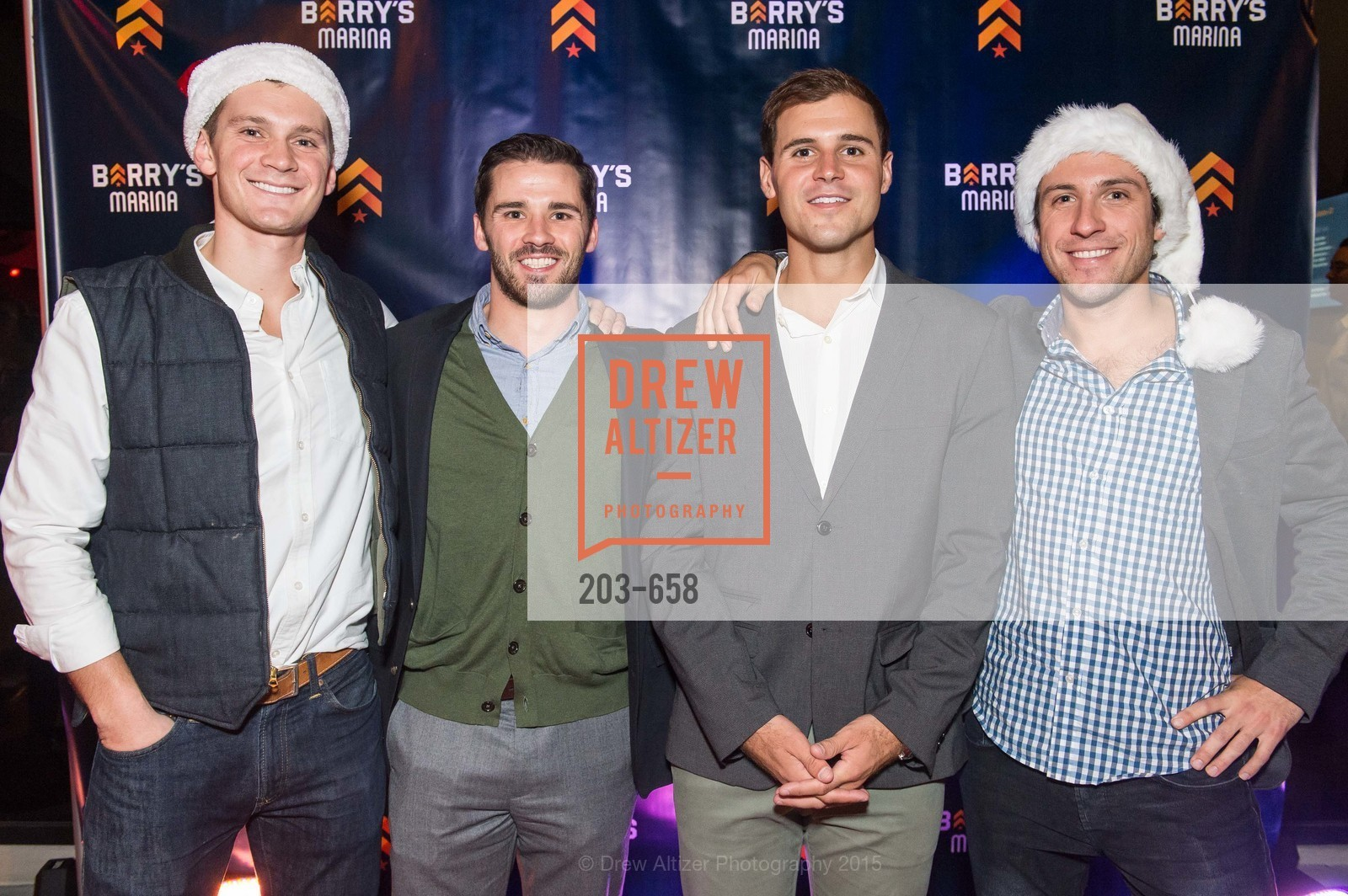 Michael Thomas, Andrew Timeier, Corey Warzola, Scott Baseck, Barry's Marina Opening, Barry's. 2246 Lombard Street, December 17th, 2015,Drew Altizer, Drew Altizer Photography, full-service agency, private events, San Francisco photographer, photographer california