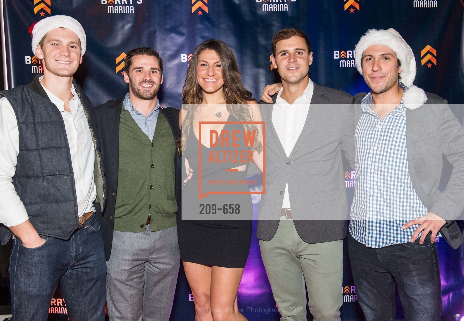Michael Thomas, Andrew Timeier, Madison Stein, Corey Warzola, Scott Baseck, Barry's Marina Opening, Barry's. 2246 Lombard Street, December 17th, 2015,Drew Altizer, Drew Altizer Photography, full-service agency, private events, San Francisco photographer, photographer california