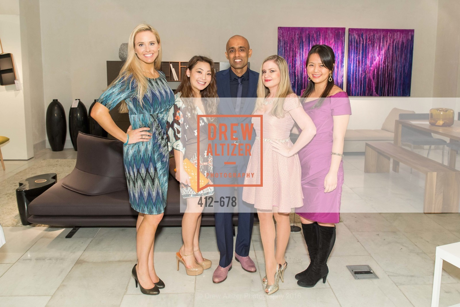 Elizabeth Sgarrella, Kelcie Lee, Sunil Sharma, Julie Hall, Angela Zhang, 2016 ENCORE! Launch Party, Ligne Roset. 162 King Street, January 7th, 2016
