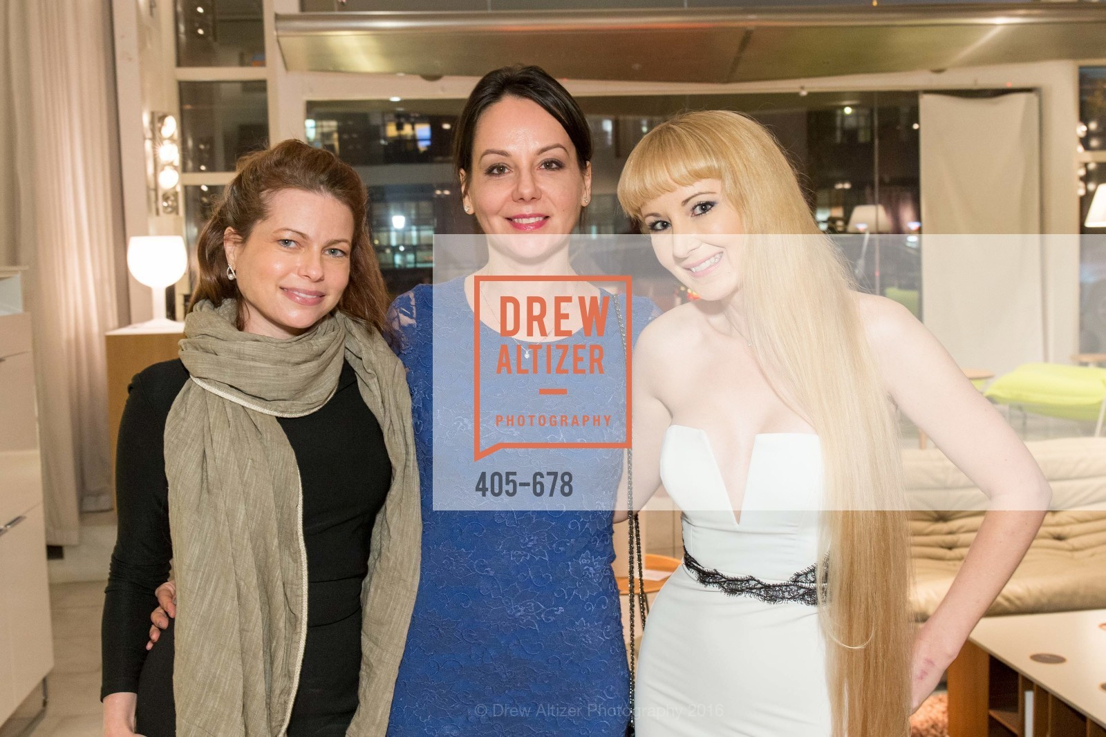 Christina Erickson, Gergana Gallacher, Shannyn Bessoni, 2016 ENCORE! Launch Party, Ligne Roset. 162 King Street, January 7th, 2016,Drew Altizer, Drew Altizer Photography, full-service agency, private events, San Francisco photographer, photographer california