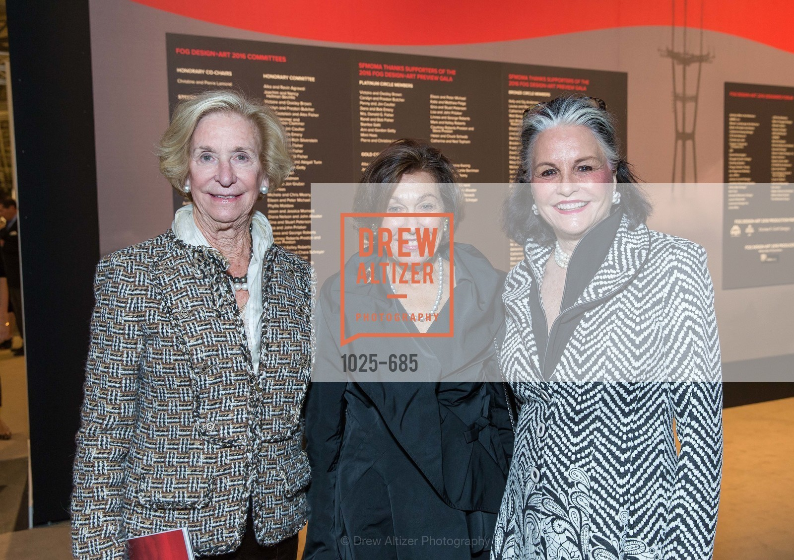 Sue Engs, Alice Wiley, Diane Chapman, FOG Design+Art Preview Gala, Fort Mason Center Festival Pavilion, January 13th, 2016,Drew Altizer, Drew Altizer Photography, full-service agency, private events, San Francisco photographer, photographer california