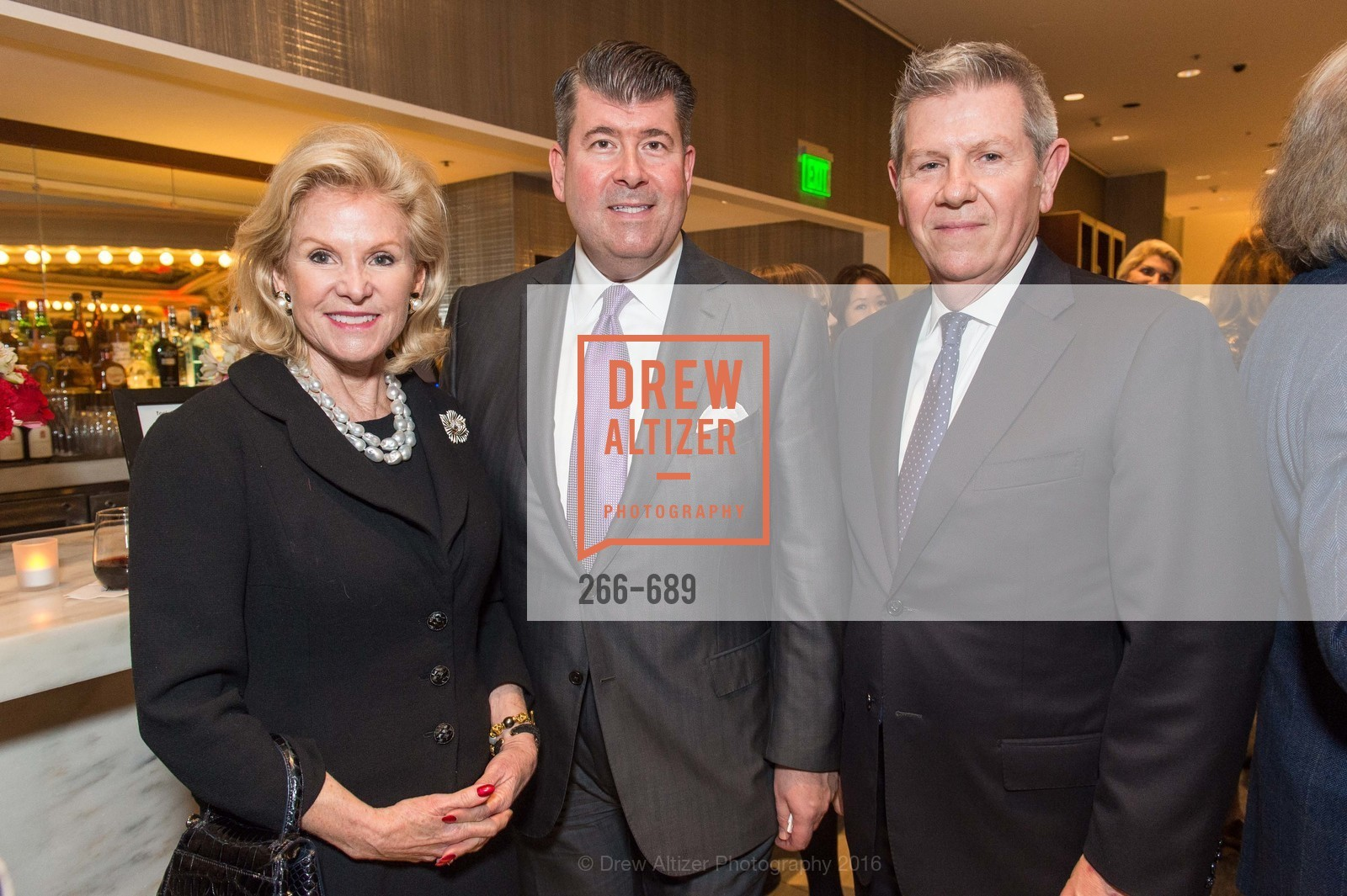 Dede Wilsey, Alan Morrell, Richard Benefield, Oscar de la Renta Cocktail Party with Boaz Mazor, The Rotunda Restaurant, January 19th, 2016,Drew Altizer, Drew Altizer Photography, full-service event agency, private events, San Francisco photographer, photographer California