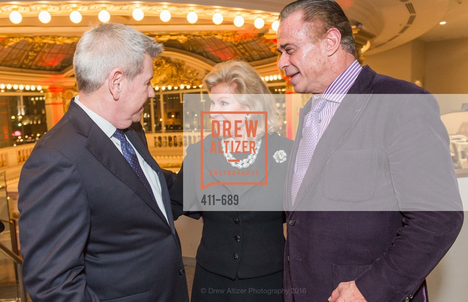 Richard Benefield, Dede Wilsey, Boaz Mazor, Oscar de la Renta Cocktail Party with Boaz Mazor, The Rotunda Restaurant, January 19th, 2016,Drew Altizer, Drew Altizer Photography, full-service agency, private events, San Francisco photographer, photographer california