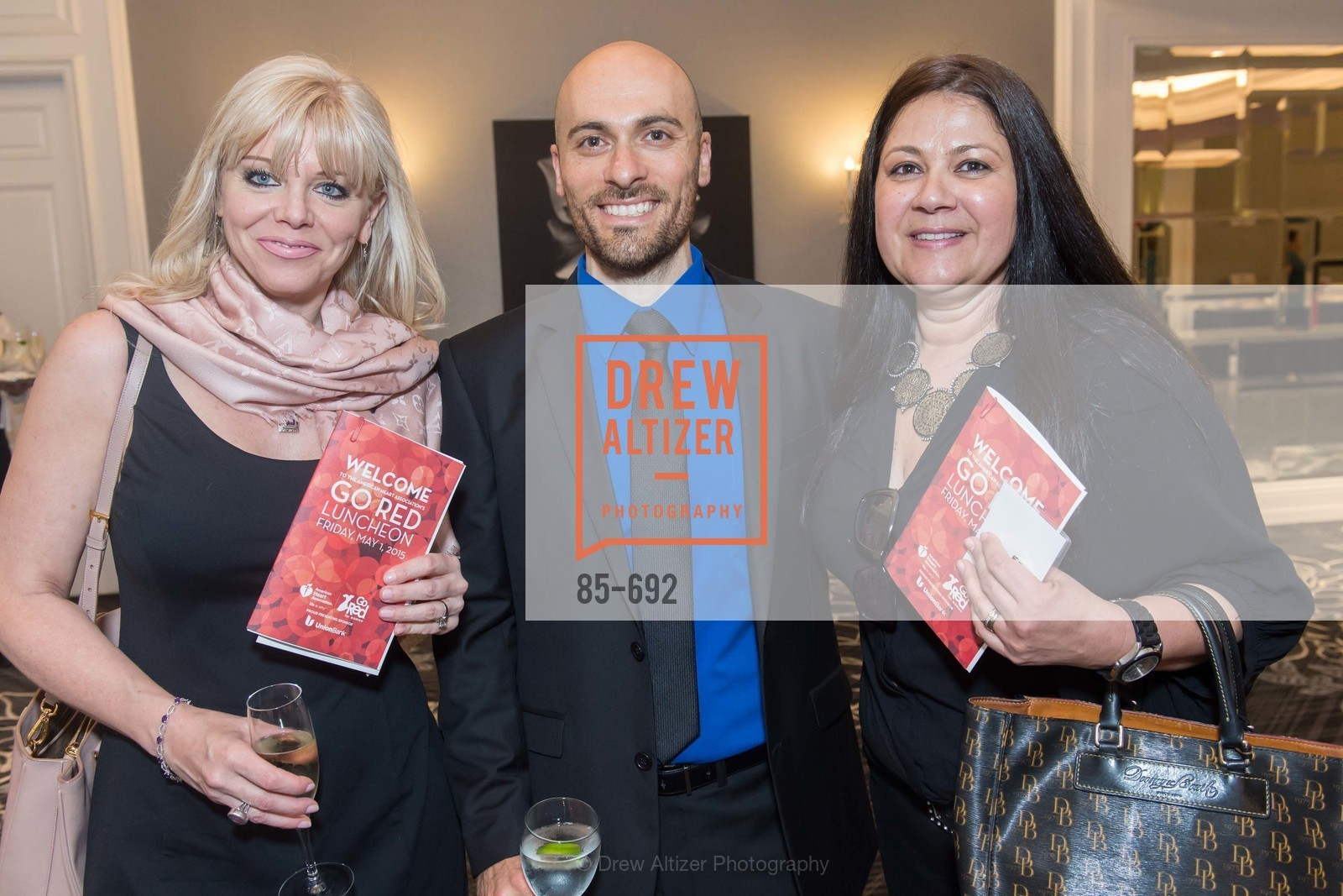Nancy Ryan, Andy Dischekenyon, Claudia Thompson, 2015 GoRed for Women Luncheon, US, May 2nd, 2015,Drew Altizer, Drew Altizer Photography, full-service agency, private events, San Francisco photographer, photographer california