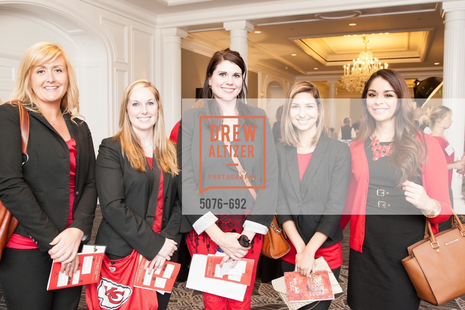 Andrea Wong, Jennifer Fletcher, Marissa Anderson, Chloe Vaille, Jessica Mendoza, 2015 GoRed for Women Luncheon, US, May 2nd, 2015,Drew Altizer, Drew Altizer Photography, full-service agency, private events, San Francisco photographer, photographer california