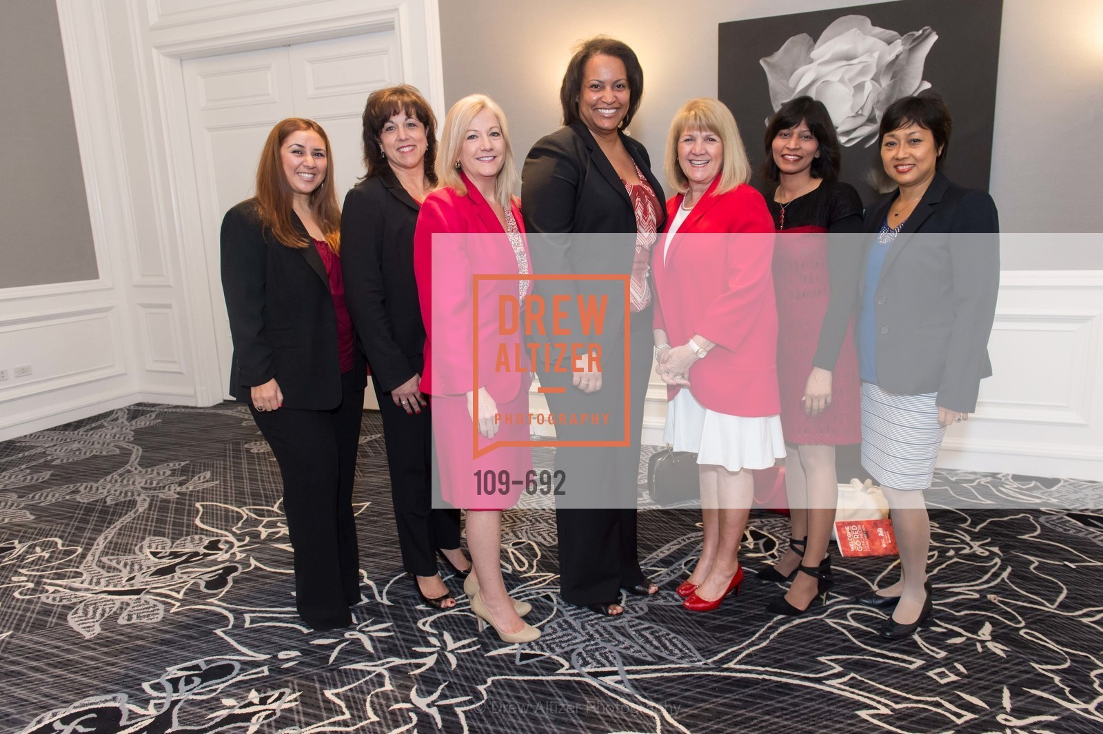 Fahar Hijazi, Paola Chesser, Linda Patrick, Rebecca Gaff, Elaine Genebro, Meatu Gupta, Conchita Miller, 2015 GoRed for Women Luncheon, US, May 2nd, 2015,Drew Altizer, Drew Altizer Photography, full-service agency, private events, San Francisco photographer, photographer california