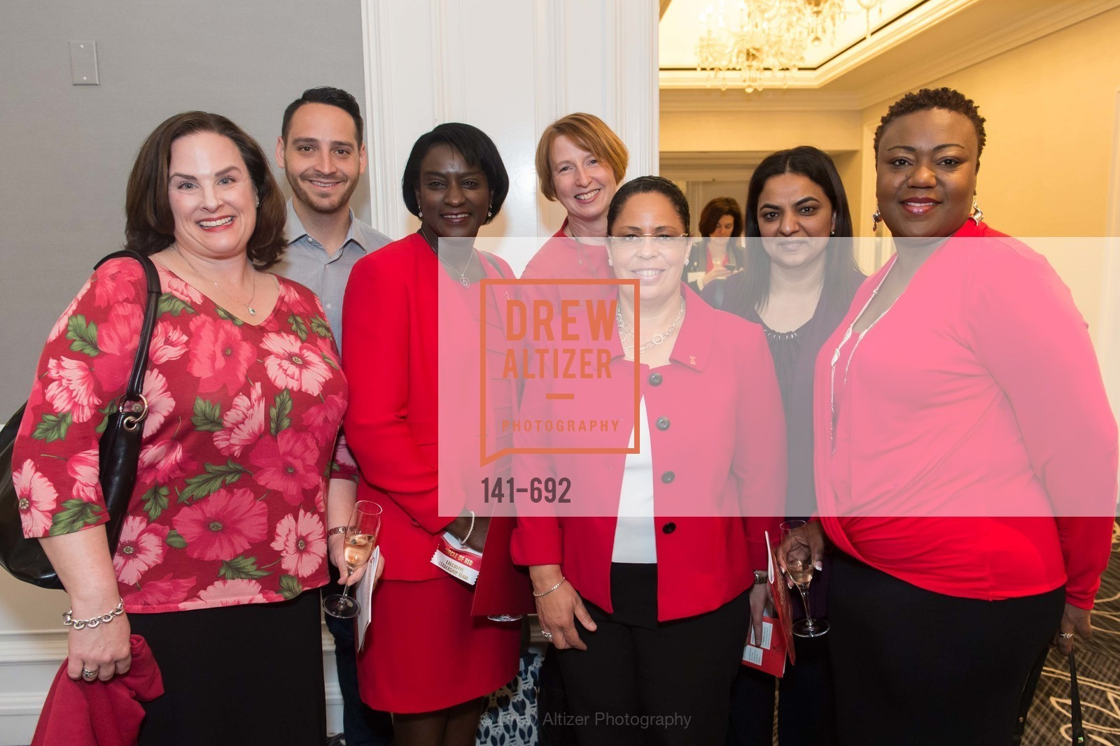 Jennifer Murphy, Clinton McGue, Melissa Welch, Marsha Scott, Libby Este, Malika Hasnani, Michelle Lewis, 2015 GoRed for Women Luncheon, US, May 2nd, 2015,Drew Altizer, Drew Altizer Photography, full-service agency, private events, San Francisco photographer, photographer california