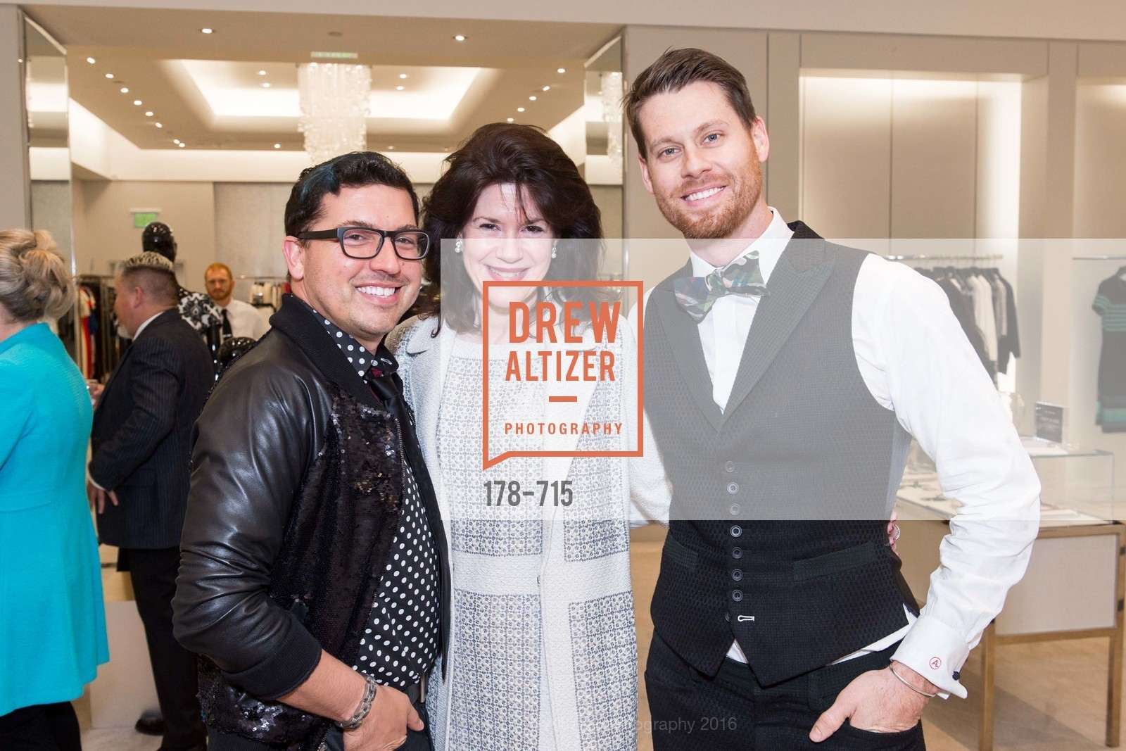 Jake Wall, Elaine Mellis, Nathan Johnson, The National Domestic Violence Hotline 20th Anniversary Gala Launch Party, St. John Boutique. 767 Market St, January 20th, 2016,Drew Altizer, Drew Altizer Photography, full-service agency, private events, San Francisco photographer, photographer california