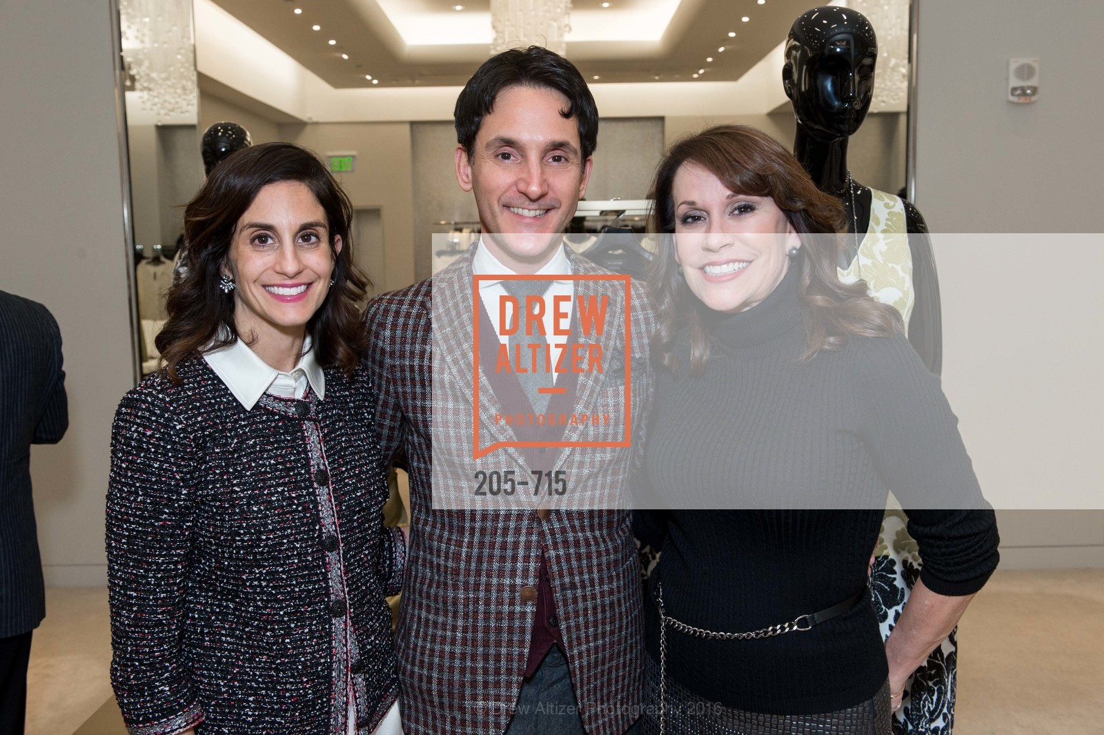 Jennifer Carrillo, James Krohn, Kate DeBernardi, The National Domestic Violence Hotline 20th Anniversary Gala Launch Party, St. John Boutique. 767 Market St, January 20th, 2016,Drew Altizer, Drew Altizer Photography, full-service agency, private events, San Francisco photographer, photographer california