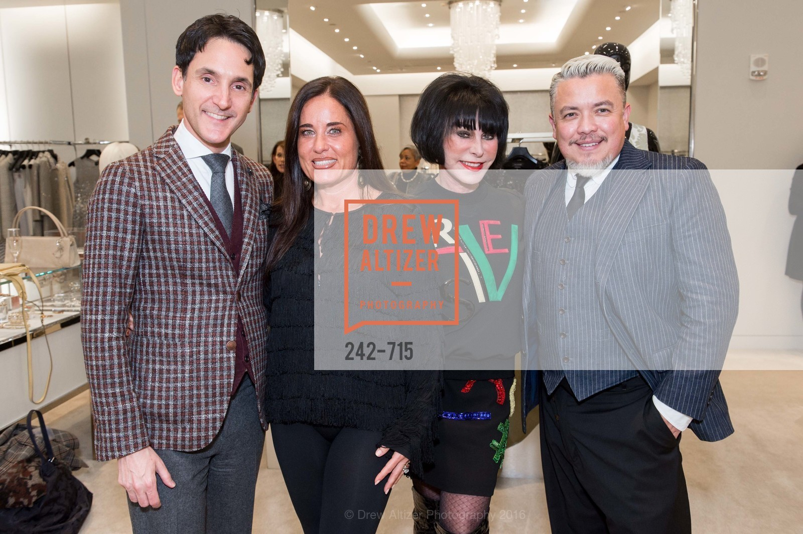 James Krohn, Natalia Urrutia, Marilyn Cabak, Victor Vargas, The National Domestic Violence Hotline 20th Anniversary Gala Launch Party, St. John Boutique. 767 Market St, January 20th, 2016,Drew Altizer, Drew Altizer Photography, full-service agency, private events, San Francisco photographer, photographer california