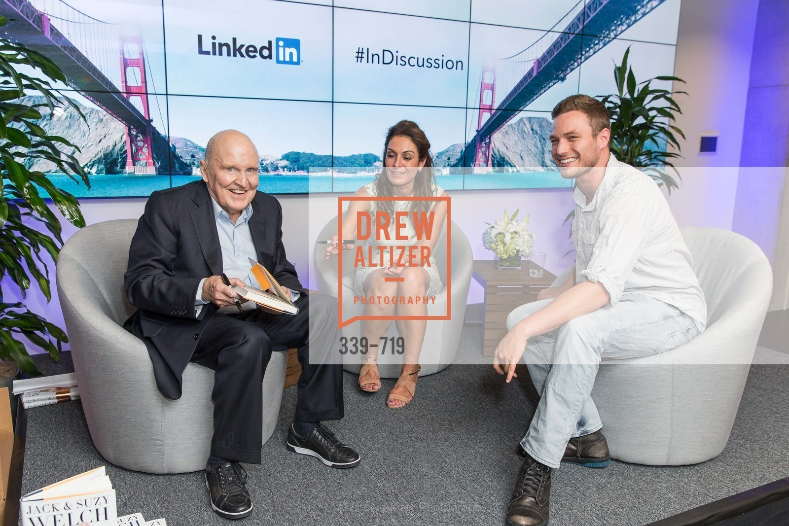 Jack Welch, Suzy Welch, Austin Anderson, THE LINKEDIN Discussion Series featuring Jack and Suzy Welch with LinkedIn Executive Editor Dan Roth, US, May 12th, 2015,Drew Altizer, Drew Altizer Photography, full-service agency, private events, San Francisco photographer, photographer california