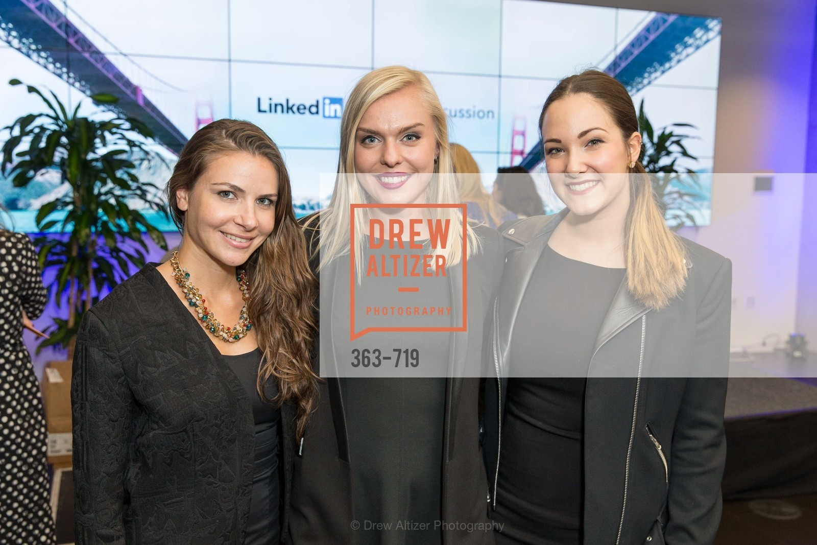 Keily Hernandez, Jenny Johansson, Sarah Left, THE LINKEDIN Discussion Series featuring Jack and Suzy Welch with LinkedIn Executive Editor Dan Roth, US, May 11th, 2015,Drew Altizer, Drew Altizer Photography, full-service agency, private events, San Francisco photographer, photographer california