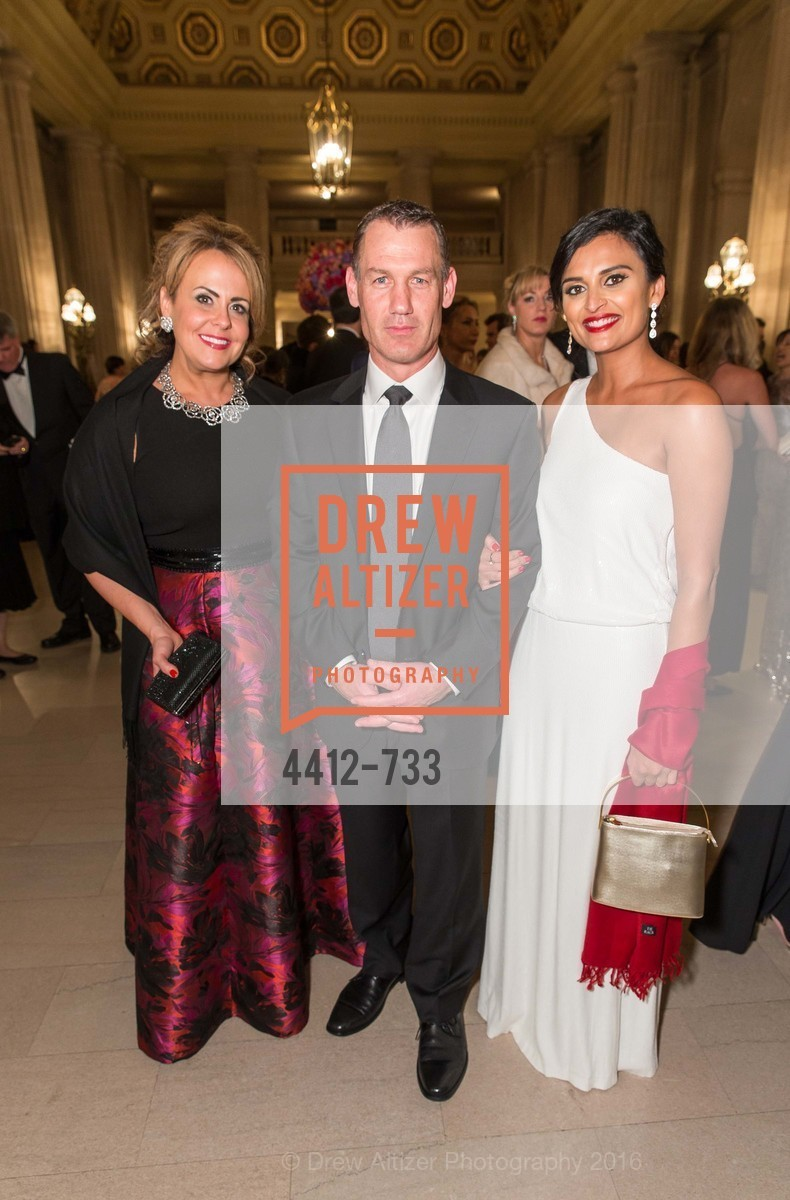 Ashley Heller, Wade Burgess, Rupal Patel, San Francisco Ballet 2016 Opening Night Gala, San Francisco City Hall. 1 Dr Carlton B Goodlett Pl, January 21st, 2016,Drew Altizer, Drew Altizer Photography, full-service agency, private events, San Francisco photographer, photographer california