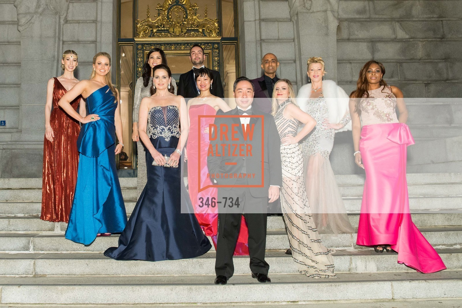 Maggie Winterfeldt Clark, Elizabeth Sgarrella, Emily Hu, Jane Burkhard, Christopher Correa, Susan Lin, Wlson Yan, Sunil Sharma, Julie Hall, Lena Gikkas, Vanessa Jean-Baptiste, San Francisco Ballet 2016 ENCORE! Opening Night Gala, San Francisco City Hall. 1 Dr Carlton B Goodlett Pl, January 21st, 2016,Drew Altizer, Drew Altizer Photography, full-service agency, private events, San Francisco photographer, photographer california