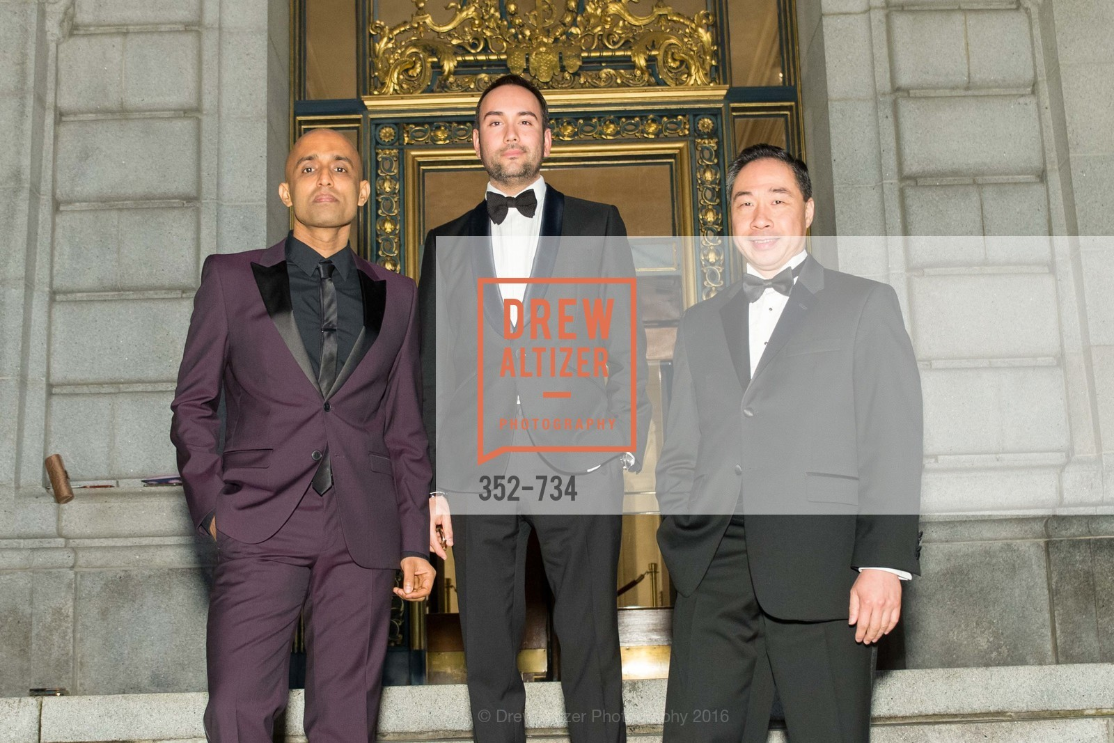 Sunil Sharma, Christopher Correa, Wilson Yan, San Francisco Ballet 2016 ENCORE! Opening Night Gala, San Francisco City Hall. 1 Dr Carlton B Goodlett Pl, January 21st, 2016,Drew Altizer, Drew Altizer Photography, full-service agency, private events, San Francisco photographer, photographer california