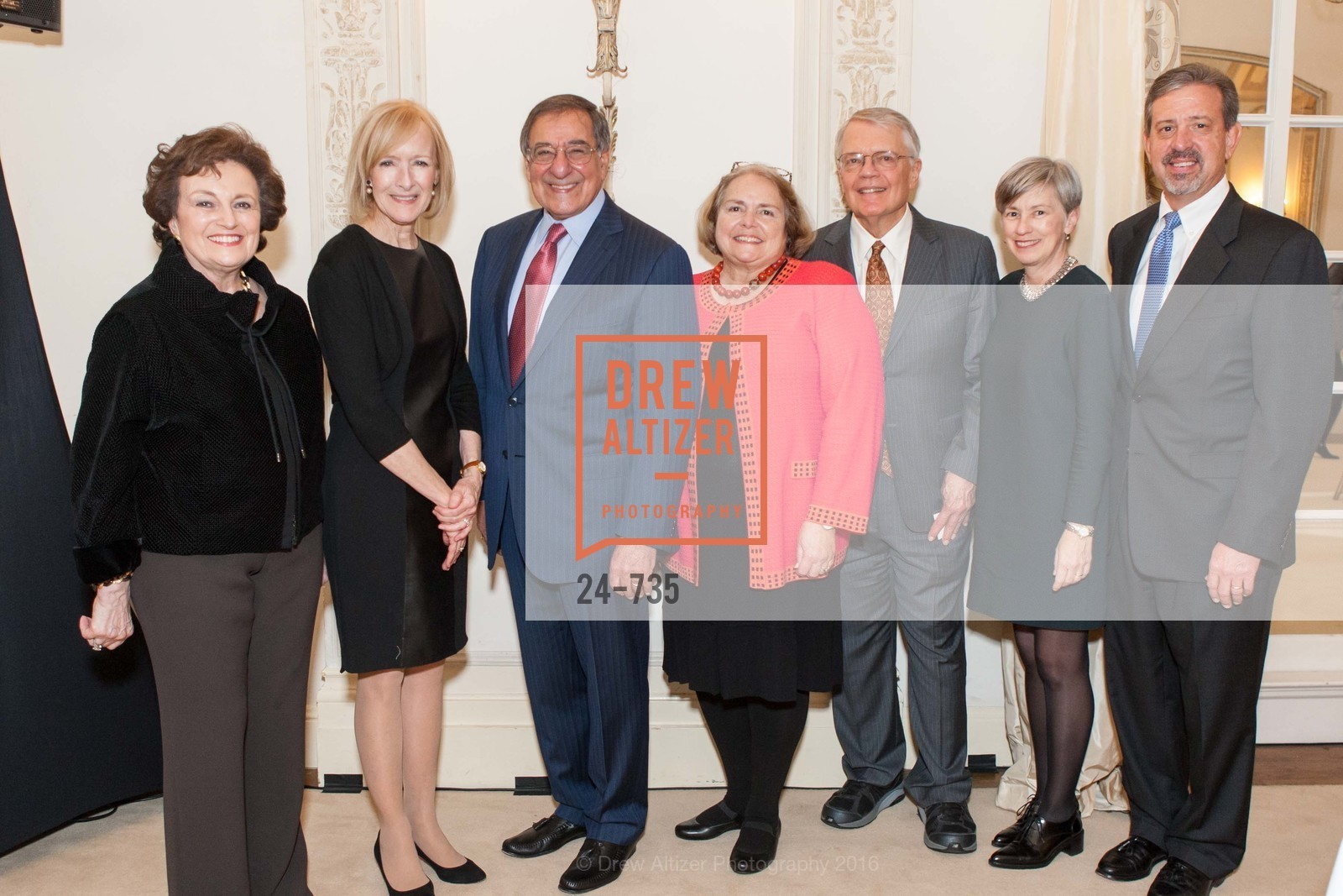 Sylvia Panetta, Judy Woodruff, Leon Panetta, Camilla Smith, George Smith, Laurie Saylak, Tom Saylak, A Night with the NewsHour, Metropolitan Club. 640 Sutter Street, January 21st, 2016,Drew Altizer, Drew Altizer Photography, full-service event agency, private events, San Francisco photographer, photographer California