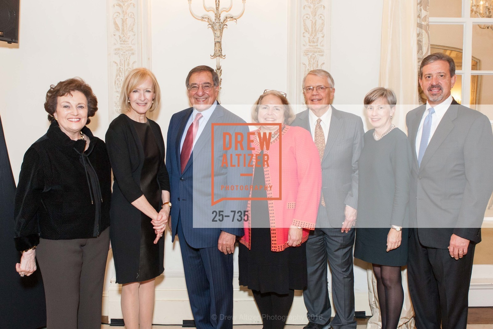 Sylvia Panetta, Judy Woodruff, Leon Panetta, Camilla Smith, George Smith, Laurie Saylak, Tom Saylak, A Night with the NewsHour, Metropolitan Club. 640 Sutter Street, January 21st, 2016,Drew Altizer, Drew Altizer Photography, full-service agency, private events, San Francisco photographer, photographer california